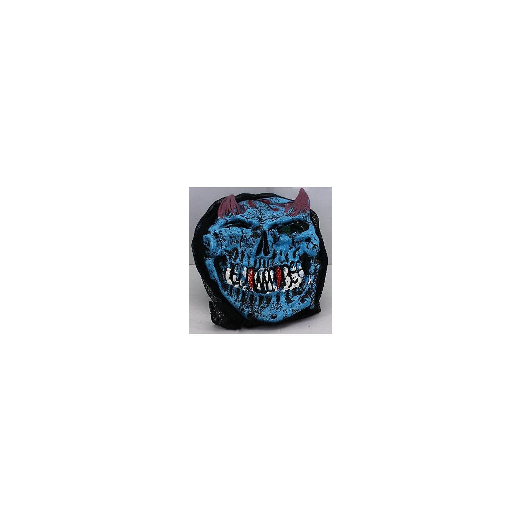 Карнавальная маска Череп с рожками, голубойКарнавальная маска Череп с рожками, голубой - это детализированный элемент карнавального костюма, представляющий собой маску, которая вызовет настоящий восторг у всех юных поклонников преображения. Маска очень практичная, ваш ребенок всё увидит через глазницы существа. Если у него будет костюм в едином стиле с маской, то приз на любом конкурсе костюмов ему обеспечен. Эти маски могут понравится как девочкам, так и мальчикам, ведь все дети хотят хоть раз побыть на стороне чудовища.<br><br>Карнавальная маска Череп с рожками, голубой можно купить в нашем интернет-магазине.<br><br>Ширина мм: 250<br>Глубина мм: 10<br>Высота мм: 200<br>Вес г: 100<br>Возраст от месяцев: 72<br>Возраст до месяцев: 192<br>Пол: Мужской<br>Возраст: Детский<br>SKU: 4767389
