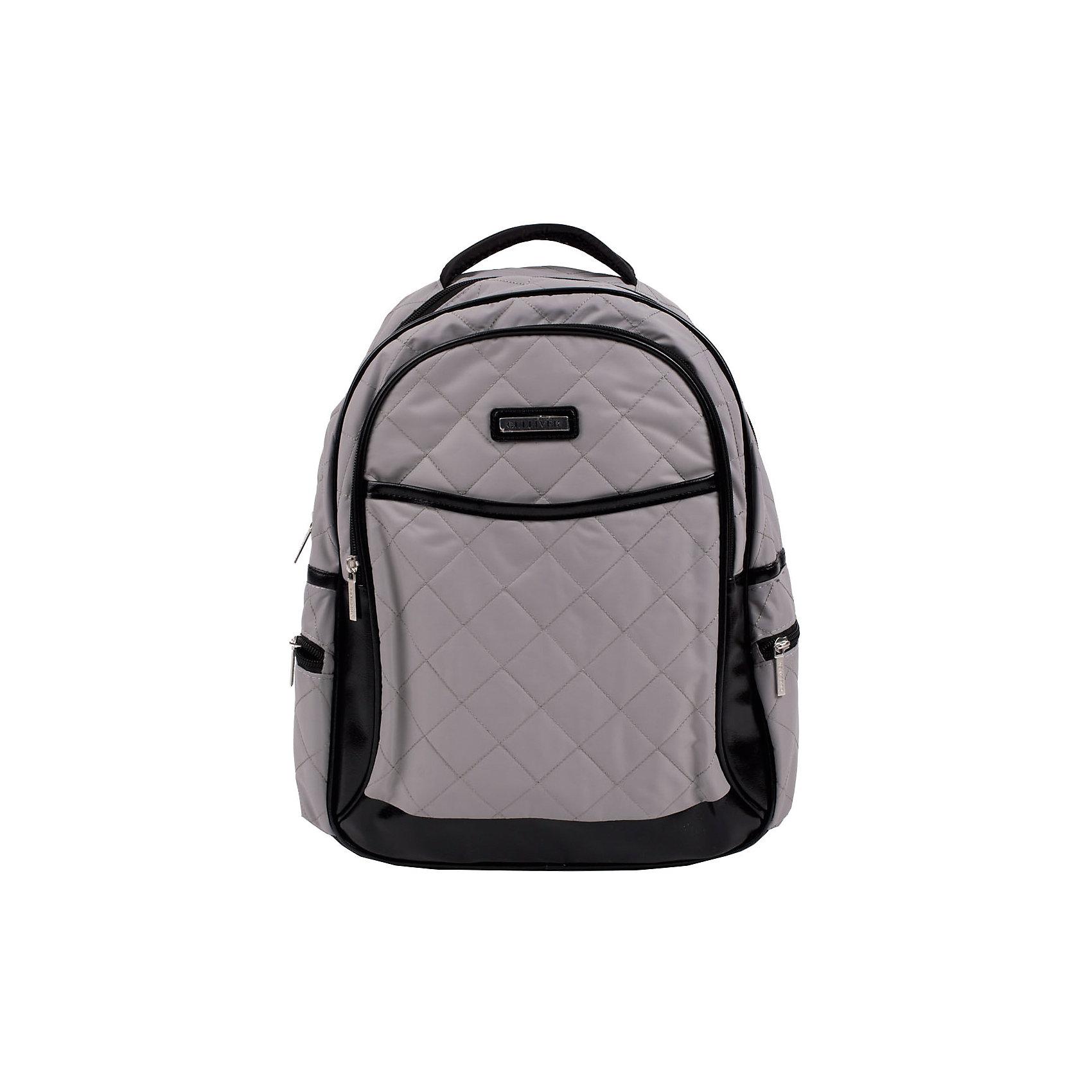 Рюкзак для мальчика GulliverРюкзак для мальчика от известного бренда Gulliver<br>Выбрать правильный рюкзак для школьника - задача не из простых! Ведь он должен быть не только модным, удобным и красивым, но и соответствовать необходимым стандартам качества. Серый школьный рюкзак - именно то, что нужно. Рюкзак имеет мягкий стеганый корпус из плащевки, эргономичную спинку из воздухопроницаемой ткани, удобные регулирующиеся лямки. В отделке рюкзака металлическая накладка, детали из эко кожи.<br>Размеры: <br>34*38*15 см.<br>Состав:<br>100% полиэстер<br><br>Ширина мм: 227<br>Глубина мм: 11<br>Высота мм: 226<br>Вес г: 350<br>Цвет: серый<br>Возраст от месяцев: 84<br>Возраст до месяцев: 168<br>Пол: Мужской<br>Возраст: Детский<br>Размер: one size<br>SKU: 4767845