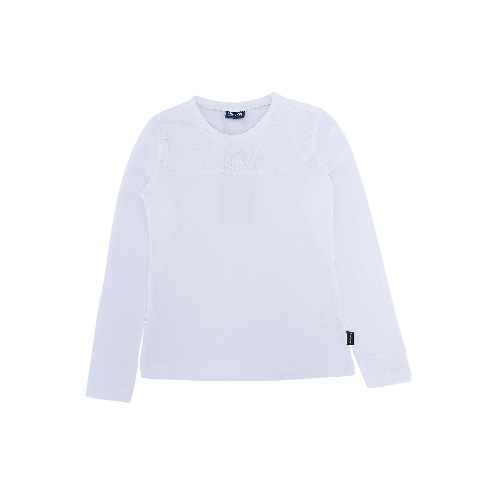 Блузка для девочки GulliverБлузки и рубашки<br>Блузка для девочки от известного бренда Gulliver<br>Школьные блузки для девочек могут не иметь пышных рюш и оборок, при этом выглядеть очень нарядно, достойно, утонченно. Белая блузка для школы, выполненная из трикотажного полотна с эластаном имеет отрезную кокетку, оформленную мягкой сеткой в мелкий горошек. Это делает модель легкой и изящной. Трикотаж с эластаном не сковывает движений, помогая ребенку быть самим собой.<br>Состав:<br>95% хлопок      5% эластан<br><br>Ширина мм: 186<br>Глубина мм: 87<br>Высота мм: 198<br>Вес г: 197<br>Цвет: белый<br>Возраст от месяцев: 84<br>Возраст до месяцев: 96<br>Пол: Женский<br>Возраст: Детский<br>Размер: 128,152,158,146,140,122,134<br>SKU: 4767859