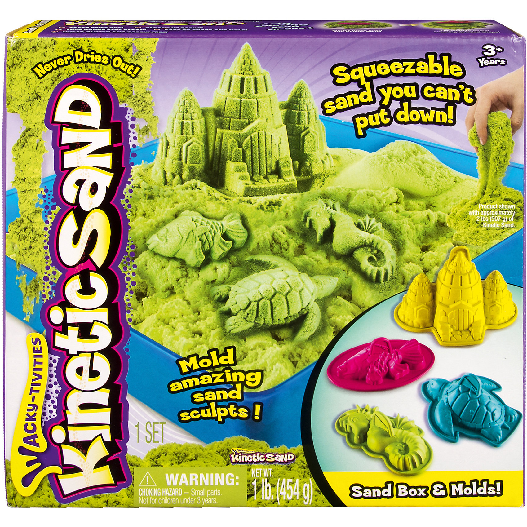 Kinetic sand Песок для лепки Kinetic sand, 454 гр, лоток, 4 формочки, зеленый kinetic sand waba fun 2 27 кг зеленый