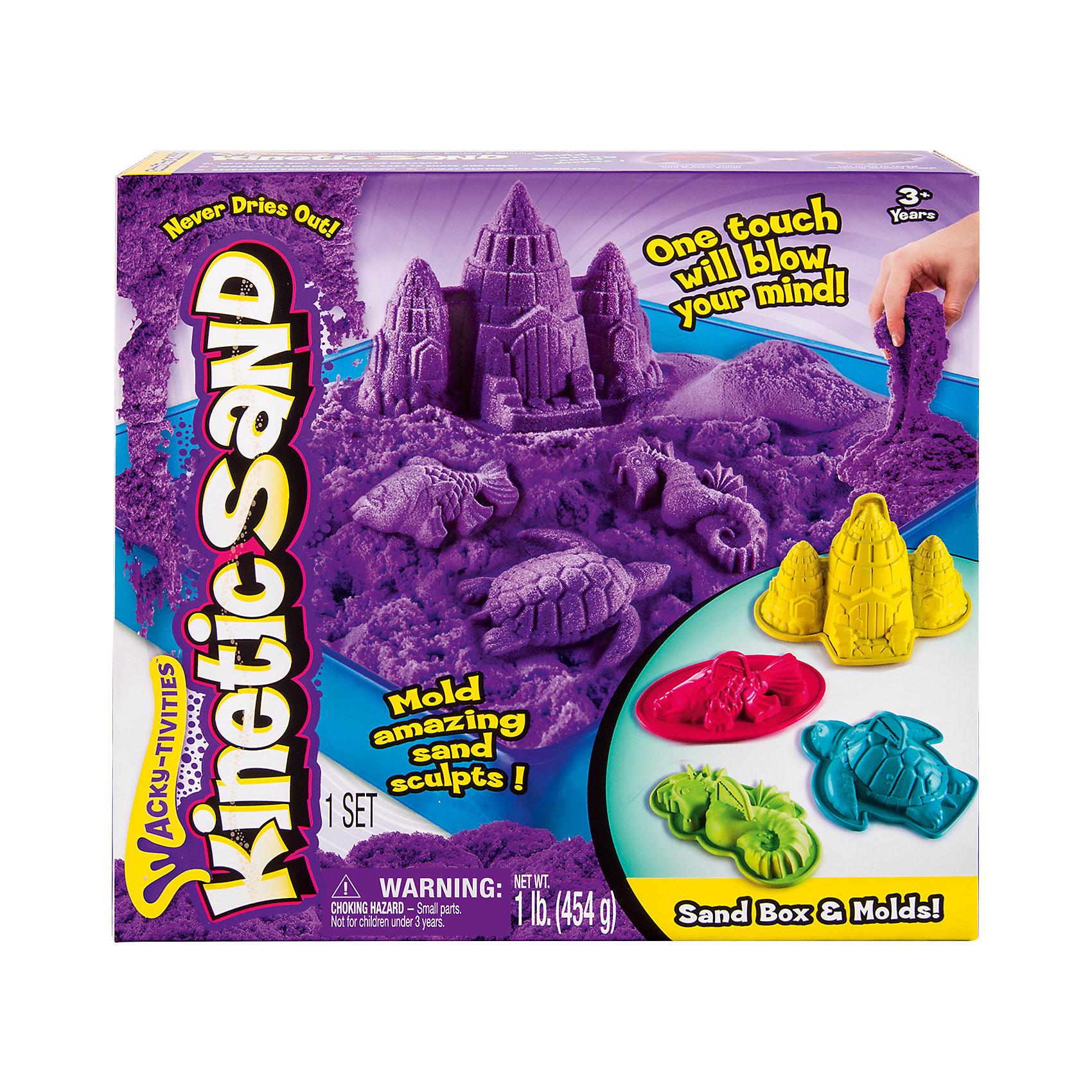 Песок для лепки Kinetic sand, 454 гр, лоток, 4 формочки, фиолетовыйКинетический песок<br>Кинетический песок Kinetic Sand похож на мокрый песок и, благодаря специальному полимеру, он не высыхает, что позволяет играть с ним вновь! С помощью этого чудесного песка можно лепить различные формы и не испачкаться! Мягкий на ощупь и совершенно не липкий, что позволяет рукам и одежде оставаться чистыми.        <br>В набор входит:<br>Песок одного цвета<br>4 формочки<br>Лоток-песочница<br><br>Ширина мм: 280<br>Глубина мм: 270<br>Высота мм: 60<br>Вес г: 868<br>Возраст от месяцев: 36<br>Возраст до месяцев: 84<br>Пол: Унисекс<br>Возраст: Детский<br>SKU: 4768726