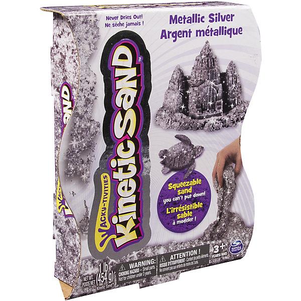 Песок для лепки Kinetic sand, металлик серебряный, 455грКинетический песок<br>Новинка в серии уникального материала для творчества Kinetic sand — кинетический песок цвета металлик серебристого или золотистого цвета. Внешне кинетический песок напоминает обычный влажный песок, тактильные ощущения совершенно другие. Состав Kinetic Sand очень прост: 98% кварцевого песка высокой степени очистки и 2% уникального связующего агента. Кинетический песок — гипоаллергенен, на нём не остаются бактерии, при изготовлении используются только экологически чистые материалы.<br>Ширина мм: 185; Глубина мм: 220; Высота мм: 45; Вес г: 570; Возраст от месяцев: 36; Возраст до месяцев: 84; Пол: Унисекс; Возраст: Детский; SKU: 4768729;