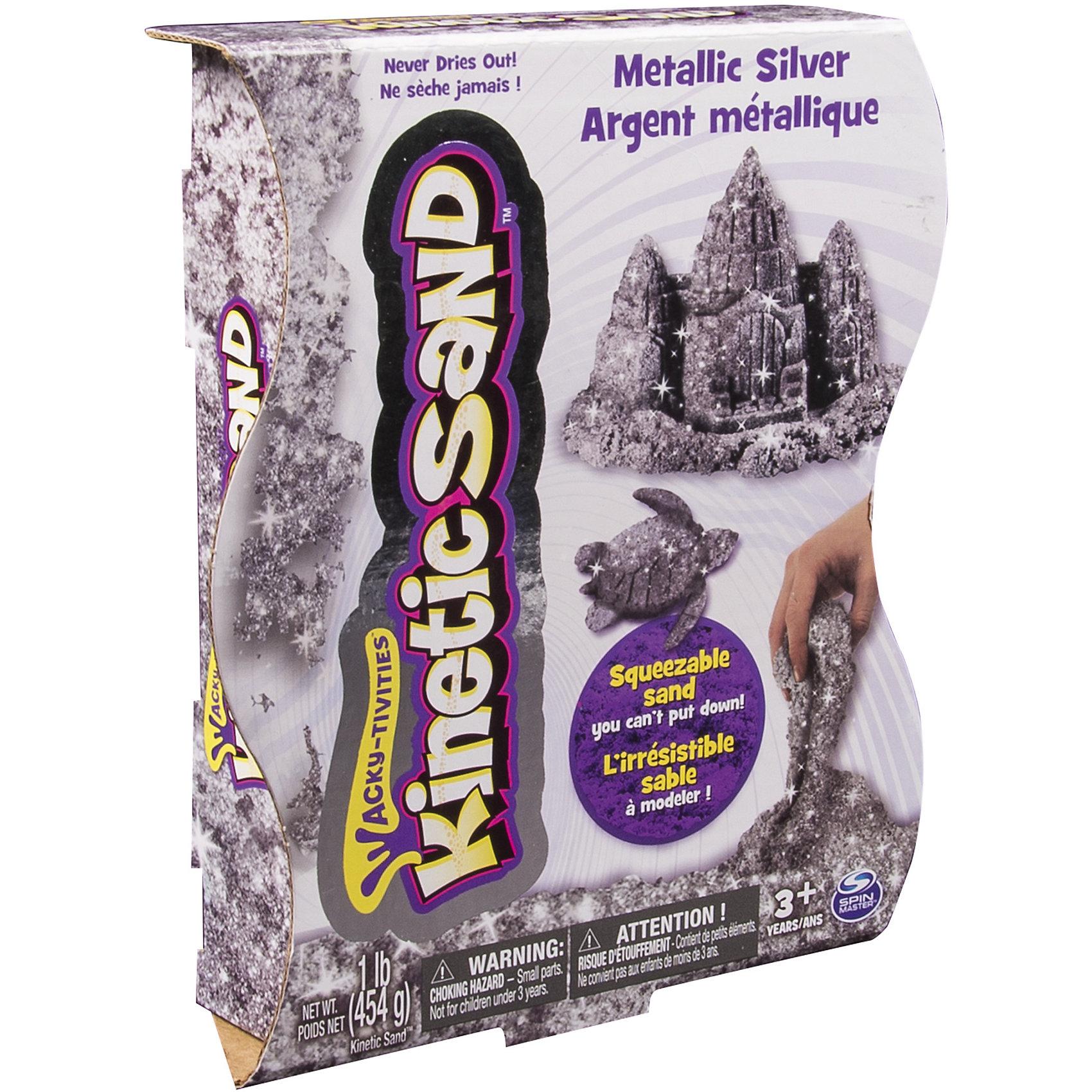 Песок для лепки Kinetic sand, металлик серебряный, 455грКинетический песок<br>Новинка в серии уникального материала для творчества Kinetic sand — кинетический песок цвета металлик серебристого или золотистого цвета. Внешне кинетический песок напоминает обычный влажный песок, тактильные ощущения совершенно другие. Состав Kinetic Sand очень прост: 98% кварцевого песка высокой степени очистки и 2% уникального связующего агента. Кинетический песок — гипоаллергенен, на нём не остаются бактерии, при изготовлении используются только экологически чистые материалы.<br><br>Ширина мм: 185<br>Глубина мм: 220<br>Высота мм: 45<br>Вес г: 570<br>Возраст от месяцев: 36<br>Возраст до месяцев: 84<br>Пол: Унисекс<br>Возраст: Детский<br>SKU: 4768729