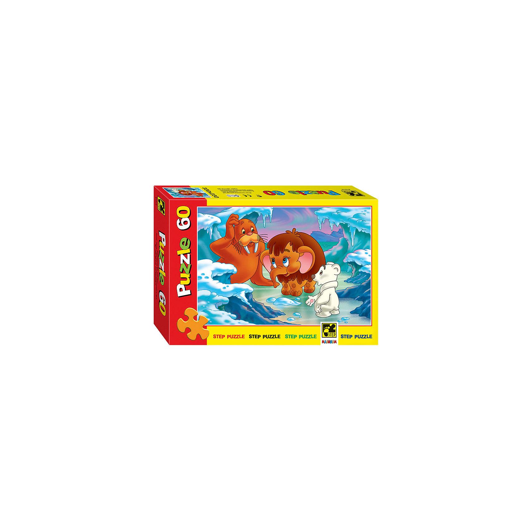 Степ Пазл Пазл Мамонтёнок, 60 деталей, Step Puzzle степ пазл пазл букет цветов с улиткой 1000 деталей step puzzle