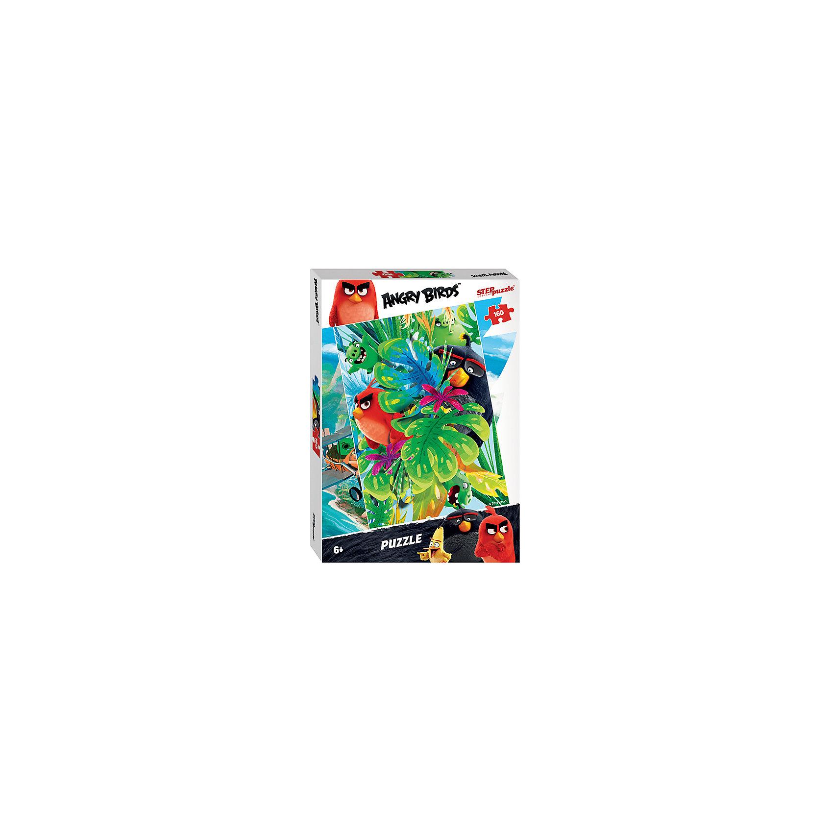 Пазл Angry Birds, 160 деталей, Step PuzzleПазл Angry Birds, 160 деталей, Step Puzzle (Степ Пазл) – это замечательный красочный пазл с изображением любимых героев.<br>Пазл Angry Birds создан по мотивам мультфильма Angry Birds в кино, в котором рассказывается с чего началось противостояние сердитых птичек и зеленых свинок. Подарите ребенку чудесный пазл, и он будет увлеченно подбирать детали, пока не составит яркую и интересную картинку, на которой сердитые птички и вредные свинки прячутся за широкими листьями. Сборка пазла Angry Birds от Step Puzzle (Степ Пазл) подарит Вашему ребенку множество увлекательных вечеров и принесет пользу для развития. Координация, моторика, внимательность легко тренируются, пока ребенок увлеченно собирает пазл. Детали пазла хорошо проклеены, идеально сцепляются друг с другом, не расслаиваются.<br><br>Дополнительная информация:<br><br>- Количество деталей: 160<br>- Размер собранной картинки: 34,5х24 см.<br>- Материал: высококачественный картон<br>- Упаковка: картонная коробка<br>- Размер упаковки: 28x19,5x3,3 см.<br>- Вес: 156 гр.<br><br>Пазл Angry Birds, 160 деталей, Step Puzzle (Степ Пазл) можно купить в нашем интернет-магазине.<br><br>Ширина мм: 280<br>Глубина мм: 195<br>Высота мм: 40<br>Вес г: 230<br>Возраст от месяцев: 72<br>Возраст до месяцев: 144<br>Пол: Унисекс<br>Возраст: Детский<br>Количество деталей: 160<br>SKU: 4769316
