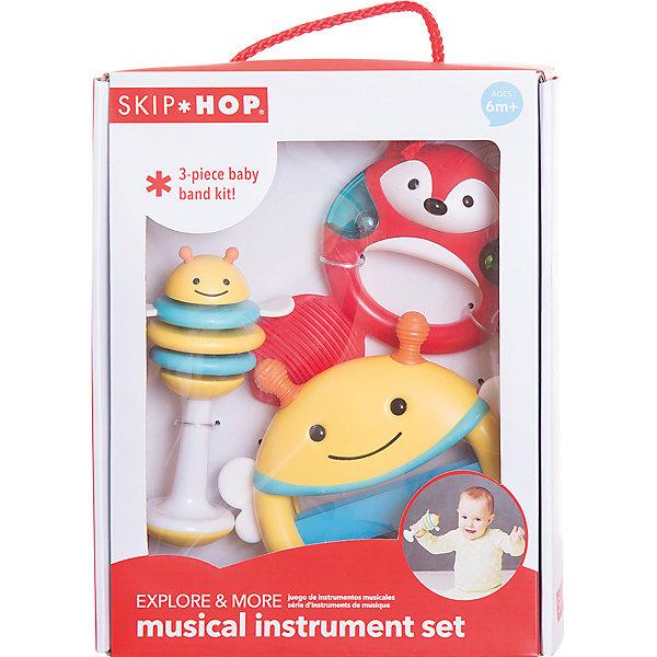 Набор музыкальных инструментов, Skip HopДетские музыкальные инструменты<br>Набор музыкальных инструментов, Skip Hop<br><br>Характеристики:<br><br>• В набор входит: игрушка<br>• Состав: пластик<br>• Размеры: болтушка: 9 * 6,3 * 15 см.; барабан: 17 * 4,5 * 15 см.; бубен: 14,5 * 4,5 * 15 см.<br>• Для детей в возрасте: от 6 месяцев<br>• Страна производитель: Китай<br><br>Игрушки изготовлены по современным технологиям исключающим добавление в их состав вредных для малышей компонентов. В набор вошли: полосатая колтушка-пчёлка, оранжево-красный бубен-лисичка и пчелиный барабан, который нужно трясти. <br><br>Все инструменты представлены в самом подходящем размере для маленьких ручек и помогут малышу самовыражаться в музыке, практикуя и открывая новые навыки. Игрушки сочетает в себе сразу несколько цветов, чтобы привлечь внимание малыша и научить его цветам. Играя с набором музыкальных инструментов малыш сможет развивать чувство ритма, звуковое, зрительное и тактильное восприятие, а также моторику рук.<br><br>Набор музыкальных инструментов, Skip Hop можно купить в нашем интернет-магазине.<br><br>Ширина мм: 99<br>Глубина мм: 99<br>Высота мм: 99<br>Вес г: 99<br>Возраст от месяцев: -2147483648<br>Возраст до месяцев: 2147483647<br>Пол: Унисекс<br>Возраст: Детский<br>SKU: 4769520