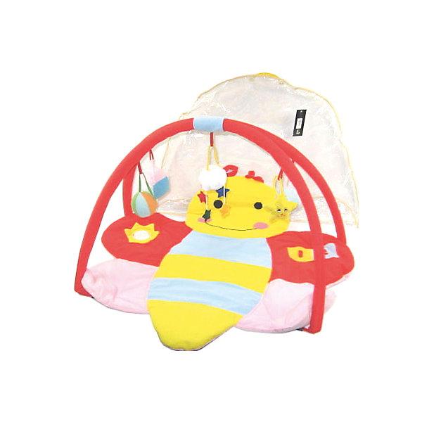 Детский игровой коврик Пчелка с мягкими игрушками на подвескеРазвивающие коврики<br>Детский игровой коврик Пчелка с мягкими игрушками на подвеске<br><br>Характеристики:<br><br>• 2 съемные дуги с подвесными игрушками<br>• подходит для ручной и автоматической стирки<br>• материал: текстиль, пластик<br>• размер упаковки: 84х6х56 см<br><br>Игровой коврик Пчелка подходит для детей с рождения. Поверхность коврика выполнена в виде милой пчелки. Кроме того, она достаточно мягкая и плотная, чтобы малыш не простудился, играя на полу. Коврик имеет две съемные дуги, на которых расположены подвесные игрушки. Разглядывая и трогая их, кроха развивает цветовое восприятие, моторику рук и тактильные ощущения. Коврик Пчела станет вашим первым помощником в развитии крохи!<br><br>Детский игровой коврик Пчелка с мягкими игрушками на подвеске можно купить в нашем интернет-магазине.<br>Ширина мм: 840; Глубина мм: 60; Высота мм: 560; Вес г: 790; Возраст от месяцев: 12; Возраст до месяцев: 36; Пол: Женский; Возраст: Детский; SKU: 4769604;