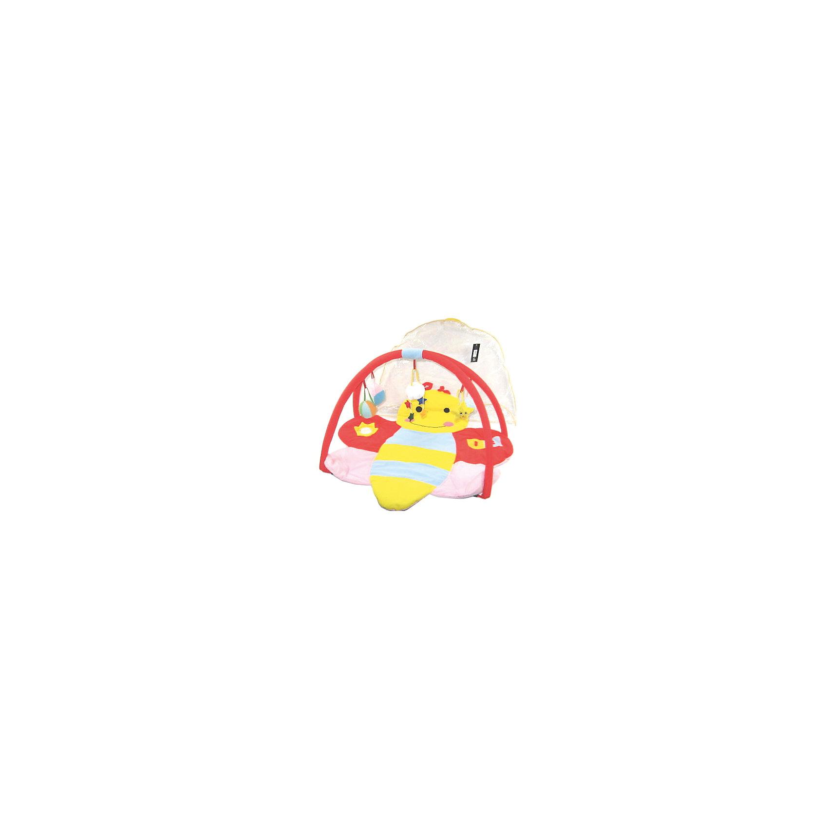 Детский игровой коврик Пчелка с мягкими игрушками на подвескеДетский игровой коврик Пчелка с мягкими игрушками на подвеске<br><br>Характеристики:<br><br>• 2 съемные дуги с подвесными игрушками<br>• подходит для ручной и автоматической стирки<br>• материал: текстиль, пластик<br>• размер упаковки: 84х6х56 см<br><br>Игровой коврик Пчелка подходит для детей с рождения. Поверхность коврика выполнена в виде милой пчелки. Кроме того, она достаточно мягкая и плотная, чтобы малыш не простудился, играя на полу. Коврик имеет две съемные дуги, на которых расположены подвесные игрушки. Разглядывая и трогая их, кроха развивает цветовое восприятие, моторику рук и тактильные ощущения. Коврик Пчела станет вашим первым помощником в развитии крохи!<br><br>Детский игровой коврик Пчелка с мягкими игрушками на подвеске можно купить в нашем интернет-магазине.<br><br>Ширина мм: 840<br>Глубина мм: 60<br>Высота мм: 560<br>Вес г: 790<br>Возраст от месяцев: 12<br>Возраст до месяцев: 36<br>Пол: Женский<br>Возраст: Детский<br>SKU: 4769604