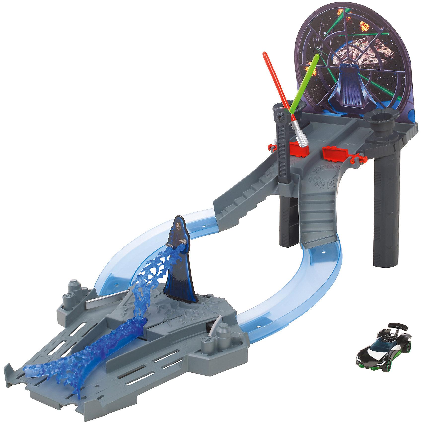 Игровой набор Звездные Войны, Hot WheelsИгровые наборы<br>Игровой набор Звездные Войны, Hot Wheels (Хот Вилс), Mattel (Маттел) ? транспортный трек для мальчиков от бренда Mattel. Игровой набор выполнен в стиле  VI эпизода Возвращение Джедая знаменитого фильма Звездные войны. Набор выполнен из качественного пластика, элементы которого устойчивы к физическим повреждениям и изменению цвета, в них отсутствуют опасные и острые детали, что делает эту игрушку безопасной даже для маленьких детей. Данный набор рекомендован производителем для мальчиков от 3-х лет.<br>Игровой набор Звездные Войны, Hot Wheels (Хот Вилс), Mattel (Маттел) ? Тронный зал состоит из двух трасс, крутящихся световых мечей и поднимающихся ворот. В комплекте идет одна эксклюзивная машинка серии Звездные Войны Hot Wheels Luke Skywalker. Набор предусматривает одновременный запуск 2 машинок.<br>Сюжетные игры с трассой Hot Wheels (Хот Вилс), Mattel (Маттел) формируют конструкторские навыки, тренируют память и развивают логическое мышление и воображение. А также эта игрушка способствует эмоциональному развитию ребенка.<br><br>Дополнительная информация:<br><br>- Вид игр: сюжетно-ролевые <br>- Предназначение: для дома<br>- Материал: пластик<br>- Комплектация: 2 трассы, крутящиеся мечи, поднимающиеся ворота, 1 машинка масштабом 1:64 <br>- Размер (Д*Ш*В): 5,5*45,5*25,5 см<br>- Вес: 774 г <br>- Особенности ухода: можно протирать влажной губкой<br><br>Подробнее:<br><br>• Для детей в возрасте: от 3 лет и до 8 лет<br>• Страна производитель: Китай<br>• Торговый бренд: Mattel<br><br>Трассу Hot Wheels (Хот Вилс), Mattel (Маттел) можно купить в нашем интернет-магазине.<br><br>Ширина мм: 55<br>Глубина мм: 455<br>Высота мм: 255<br>Вес г: 774<br>Возраст от месяцев: 36<br>Возраст до месяцев: 96<br>Пол: Мужской<br>Возраст: Детский<br>SKU: 4770042