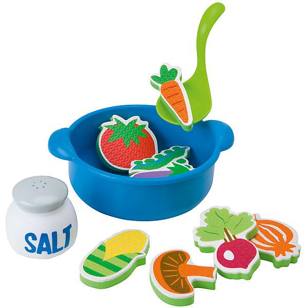 Набор для ванны Приготовь суп, 12 предметов, ALEXИгрушки для ванной<br>Набор для ванны Приготовь суп, 12 предметов, ALEX (АЛЕКС) - превратит купание ребенка в веселую увлекательную игру.<br>Набор подарит море удовольствия ребенку во время купания, ведь теперь приготовить» суп можно, не выходя из ванной! Для приготовления супа в набор входит пластиковая кастрюля и 9 игрушечных овощей-фигурок. Овощи из вспененного пластика плавают на поверхности воды и крепятся к мокрому кафелю. Готовый суп можно разливать по порциям с помощью входящего в набор пластикового половничка, а «досолить» - из солонки, которая брызгается водой.<br><br>Дополнительная информация:<br><br>- В наборе: 9 игрушечных овощей-фигурок, кастрюлька, поварешка, солонка<br>- Диаметр кастрюли: 15 см.<br>- Размер фигурок: 5-8 см.<br>- Материалы: вспененный пластик, пластик<br>- Размер упаковки: 25x5x27 см.<br><br>Набор для ванны Приготовь суп, 12 предметов, ALEX (АЛЕКС) можно купить в нашем интернет-магазине.<br><br>Ширина мм: 279<br>Глубина мм: 64<br>Высота мм: 254<br>Вес г: 810<br>Возраст от месяцев: 24<br>Возраст до месяцев: 72<br>Пол: Унисекс<br>Возраст: Детский<br>SKU: 4771340