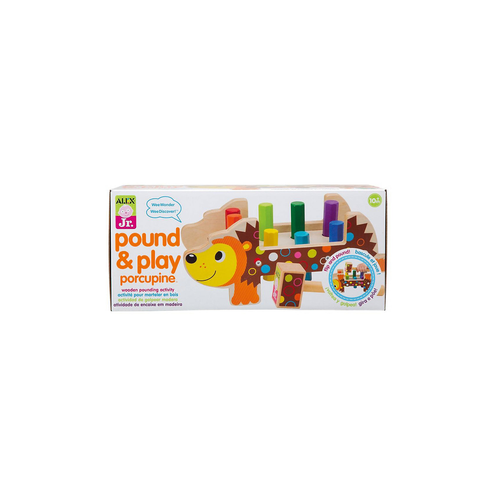Набор Дикобраз, ALEXРазвивающие игрушки<br>Набор Дикобраз, ALEX (АЛЕКС) - это красочная игрушка-стучалка для самых маленьких.<br>Набор Дикобраз, ALEX (АЛЕКС) - развивающая игрушка, которая будет интересна малышам. Основание с восемью отверстиями, выполнено в виде красочного дикобраза. С помощью молоточка, входящего в комплект, малышу предлагается «забивать» в отверстия длинные разноцветные стержни. Набор развивает цветовосприятие, координацию, логику, мелкую моторику. Выполнен из древесины и окрашен безопасными для здоровья малыша красками.<br><br>Дополнительная информация:<br><br>- В наборе: деревянная основа; 8 разноцветных стержней; молоток<br>- Материал: древесина<br>- Размер игрушки: 30,5x12,5x12,5 см.<br>- Размеры упаковки: 31,8x14x14 см.<br><br>Набор Дикобраз, ALEX (АЛЕКС) можно купить в нашем интернет-магазине.<br><br>Ширина мм: 140<br>Глубина мм: 140<br>Высота мм: 320<br>Вес г: 940<br>Возраст от месяцев: 18<br>Возраст до месяцев: 36<br>Пол: Унисекс<br>Возраст: Детский<br>SKU: 4771342