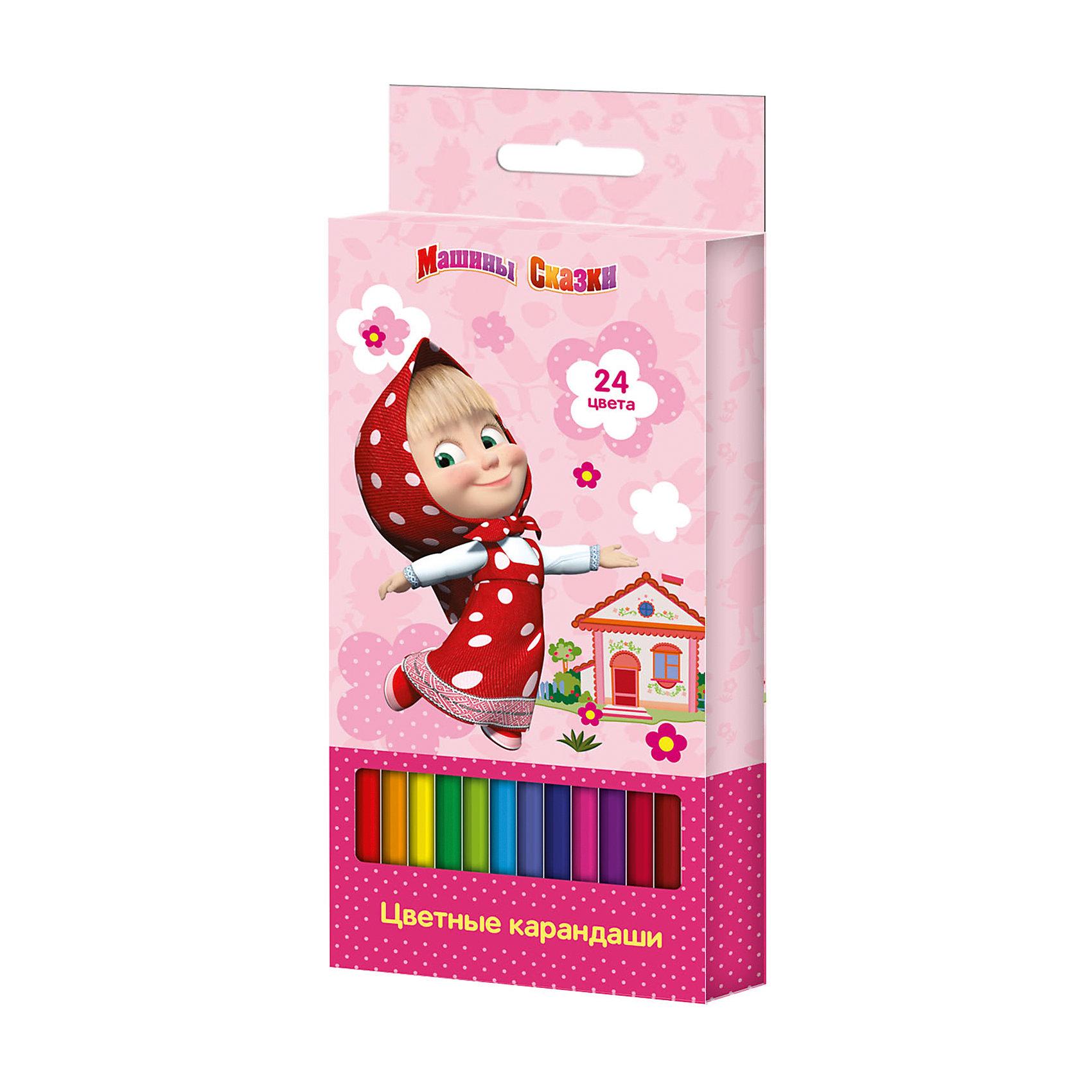 Цветные карандаши, 24 цв., Маша и МедведьЦветные карандаши - необходимый инструмент для детского творчества и школьных занятий. Карандаши, Маша и Медведь, идеально подходят для рисования, письма и раскрашивания, не требуют сильного нажатия, поэтом ребенку будет легко ими рисовать. Карандаши изготовлены<br>из высококачественной древесины, легко затачиваются, имеют прочный грифель, который не ломается при заточке. Набор из 24 карандашей оформлен в розовую картонную коробку с изображением любимой героини из популярного мультсериала Маша и Медведь.<br><br><br>Дополнительная информация:<br><br>- В комплекте: 24 карандаша.<br>- Материал: дерево, грифель.<br>- Размер упаковки: 17,5 х 1,5 х 9 см.<br>- Вес: 139 гр.<br><br>Цветные карандаши, 24 цв., Маша и Медведь, можно купить в нашем интернет-магазине.<br><br>Ширина мм: 178<br>Глубина мм: 90<br>Высота мм: 15<br>Вес г: 139<br>Возраст от месяцев: 36<br>Возраст до месяцев: 120<br>Пол: Унисекс<br>Возраст: Детский<br>SKU: 4774823