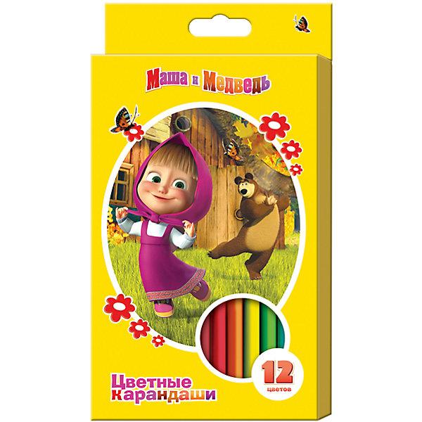 Цветные карандаши, 12 цв., Маша и МедведьМаша и Медведь<br>Цветные карандаши - необходимый инструмент для детского творчества и школьных занятий. Карандаши, Маша и Медведь, идеально подходят для рисования, письма и раскрашивания. Карандаши разработаны специально для малышей: благодаря утолщенному трехгранному<br>корпусу и эргономичной форме, они особенно удобны для детской руки, поэтому ребенок может рисовать без усталости и правильно держать мягкий карандаш. Изготовлены из высококачественной древесины, легко затачиваются, имеют прочный грифель, который не ломается при<br>заточке. Набор из 12 карандашей оформлен в желтую картонную коробку с изображением любимых героев из популярного мультсериала Маша и Медведь.<br><br><br>Дополнительная информация:<br><br>- В комплекте: 12 карандашей.<br>- Материал: дерево, грифель.<br>- Размер одного карандаша: 17,5 х 1,1 см.<br>- Размер упаковки: 21 х 1 х 11,5 см.<br>- Вес: 148 гр.<br><br>Цветные карандаши, 12 цв., Маша и Медведь, можно купить в нашем интернет-магазине.<br>Ширина мм: 210; Глубина мм: 110; Высота мм: 10; Вес г: 148; Возраст от месяцев: 36; Возраст до месяцев: 120; Пол: Унисекс; Возраст: Детский; SKU: 4774829;