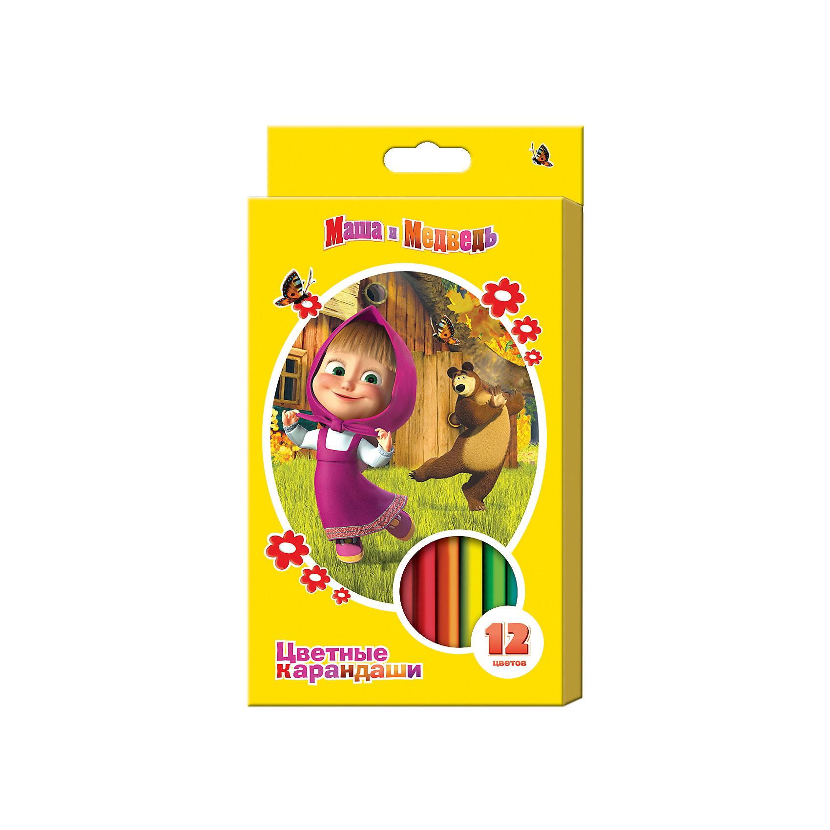 Цветные карандаши, 12 цв., Маша и МедведьМаша и Медведь<br>Цветные карандаши - необходимый инструмент для детского творчества и школьных занятий. Карандаши, Маша и Медведь, идеально подходят для рисования, письма и раскрашивания. Карандаши разработаны специально для малышей: благодаря утолщенному трехгранному<br>корпусу и эргономичной форме, они особенно удобны для детской руки, поэтому ребенок может рисовать без усталости и правильно держать мягкий карандаш. Изготовлены из высококачественной древесины, легко затачиваются, имеют прочный грифель, который не ломается при<br>заточке. Набор из 12 карандашей оформлен в желтую картонную коробку с изображением любимых героев из популярного мультсериала Маша и Медведь.<br><br><br>Дополнительная информация:<br><br>- В комплекте: 12 карандашей.<br>- Материал: дерево, грифель.<br>- Размер одного карандаша: 17,5 х 1,1 см.<br>- Размер упаковки: 21 х 1 х 11,5 см.<br>- Вес: 148 гр.<br><br>Цветные карандаши, 12 цв., Маша и Медведь, можно купить в нашем интернет-магазине.<br><br>Ширина мм: 210<br>Глубина мм: 110<br>Высота мм: 10<br>Вес г: 148<br>Возраст от месяцев: 36<br>Возраст до месяцев: 120<br>Пол: Унисекс<br>Возраст: Детский<br>SKU: 4774829