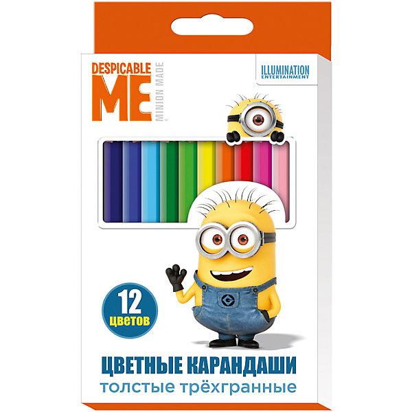 Цветные карандаши, 12 цв., МиньоныМиньоны<br>Цветные карандаши - необходимый инструмент для детского творчества и школьных занятий. Карандаши, Миньоны, идеально подходят для рисования, письма и раскрашивания. Карандаши разработаны специально для малышей: благодаря утолщенному трехгранному корпусу и<br>эргономичной форме, они особенно удобны для детской руки, поэтому ребенок может рисовать без усталости и правильно держать карандаш, формируя навыки правильного письма. Изготовлены из высококачественной древесины, легко затачиваются, имеют прочный грифель, который не ломается при заточке. Набор из 12 карандашей оформлен в нарядную картонную коробку с изображением забавного миньона из популярного мультфильма Гадкий Я.<br><br><br>Дополнительная информация:<br><br>- В комплекте: 12 карандашей.<br>- Материал: дерево, грифель.<br>- Толщина грифеля: 0,4 см.<br>- Размер одного карандаша: 17,5 х 1,1 см.<br>- Размер упаковки: 18 х 1 х 11,2 см.<br>- Вес: 137 гр.<br><br>Цветные карандаши, 12 цв., Миньоны, можно купить в нашем интернет-магазине.<br>Ширина мм: 180; Глубина мм: 112; Высота мм: 10; Вес г: 137; Возраст от месяцев: 36; Возраст до месяцев: 120; Пол: Унисекс; Возраст: Детский; SKU: 4774832;