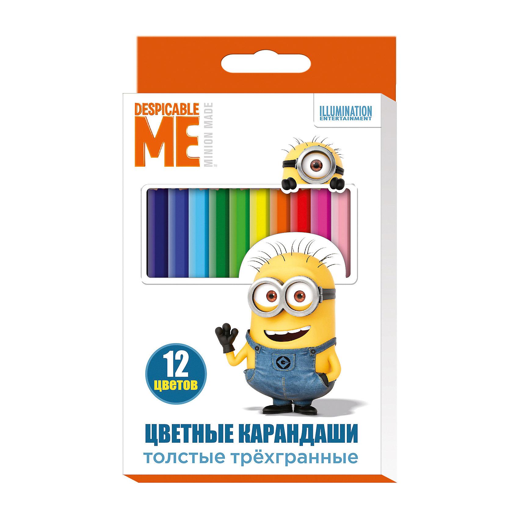 Цветные карандаши, 12 цв., МиньоныМиньоны Товары для школы<br>Цветные карандаши - необходимый инструмент для детского творчества и школьных занятий. Карандаши, Миньоны, идеально подходят для рисования, письма и раскрашивания. Карандаши разработаны специально для малышей: благодаря утолщенному трехгранному корпусу и<br>эргономичной форме, они особенно удобны для детской руки, поэтому ребенок может рисовать без усталости и правильно держать карандаш, формируя навыки правильного письма. Изготовлены из высококачественной древесины, легко затачиваются, имеют прочный грифель, который не ломается при заточке. Набор из 12 карандашей оформлен в нарядную картонную коробку с изображением забавного миньона из популярного мультфильма Гадкий Я.<br><br><br>Дополнительная информация:<br><br>- В комплекте: 12 карандашей.<br>- Материал: дерево, грифель.<br>- Толщина грифеля: 0,4 см.<br>- Размер одного карандаша: 17,5 х 1,1 см.<br>- Размер упаковки: 18 х 1 х 11,2 см.<br>- Вес: 137 гр.<br><br>Цветные карандаши, 12 цв., Миньоны, можно купить в нашем интернет-магазине.<br><br>Ширина мм: 180<br>Глубина мм: 112<br>Высота мм: 10<br>Вес г: 137<br>Возраст от месяцев: 36<br>Возраст до месяцев: 120<br>Пол: Унисекс<br>Возраст: Детский<br>SKU: 4774832