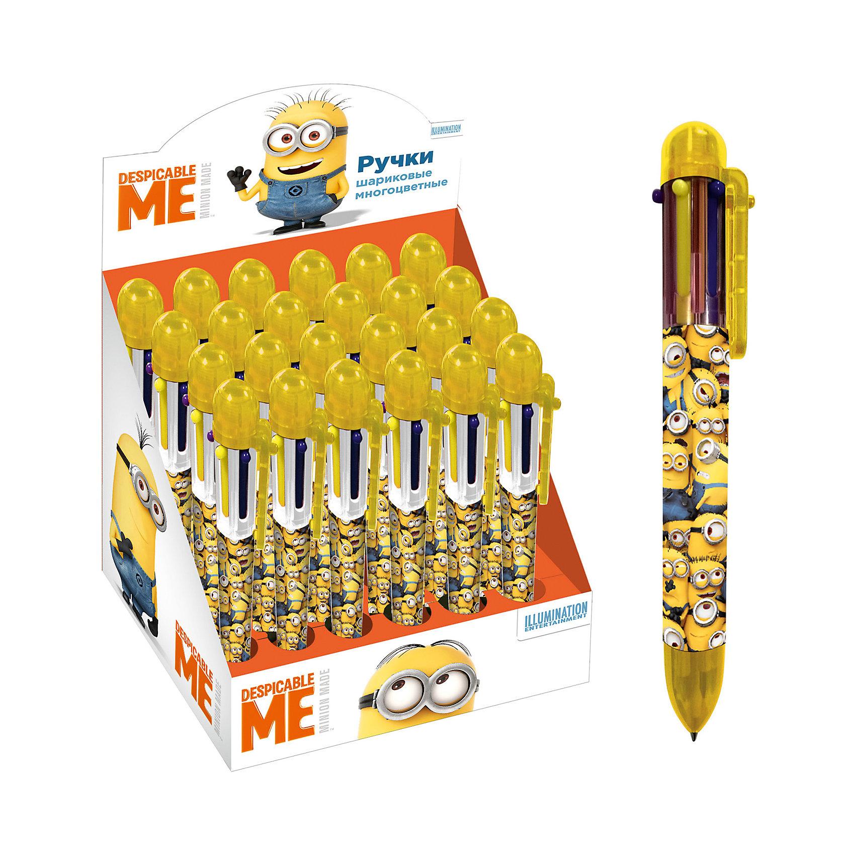 Шариковая автоматическая ручка, 6 цв., Миньоны