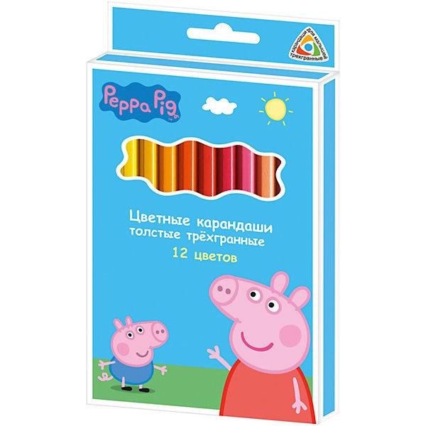 Цветные карандаши, 12 цв., Свинка ПеппаСвинка Пеппа<br>Карандаши, Свинка Пеппа, идеально подходят для рисования, письма и раскрашивания. Карандаши разработаны специально для малышей: благодаря утолщенному трехгранному корпусу и эргономичной форме, они особенно удобны для детской руки, поэтому ребенок может рисовать без усталости и правильно держать карандаш, формируя навыки правильного письма. Изготовлены из высококачественной древесины, легко затачиваются, имеют прочный грифель, который не ломается при заточке. Набор из 12 карандашей оформлен в голубую картонную коробку с изображением любимой героини из популярного мультсериала Свинка Пеппа.<br><br><br>Дополнительная информация:<br><br>- В комплекте: 12 карандашей.<br>- Материал: дерево, грифель.<br>- Толщина грифеля: 0,4 см.<br>- Размер одного карандаша: 17,5 х 1,1 см.<br>- Размер упаковки: 18 х 1 х 10,3 см.<br>- Вес: 137 гр.<br><br>Цветные карандаши, 12 цв., Свинка Пеппа, можно купить в нашем интернет-магазине.<br>Ширина мм: 180; Глубина мм: 103; Высота мм: 10; Вес г: 137; Возраст от месяцев: 36; Возраст до месяцев: 120; Пол: Унисекс; Возраст: Детский; SKU: 4774841;