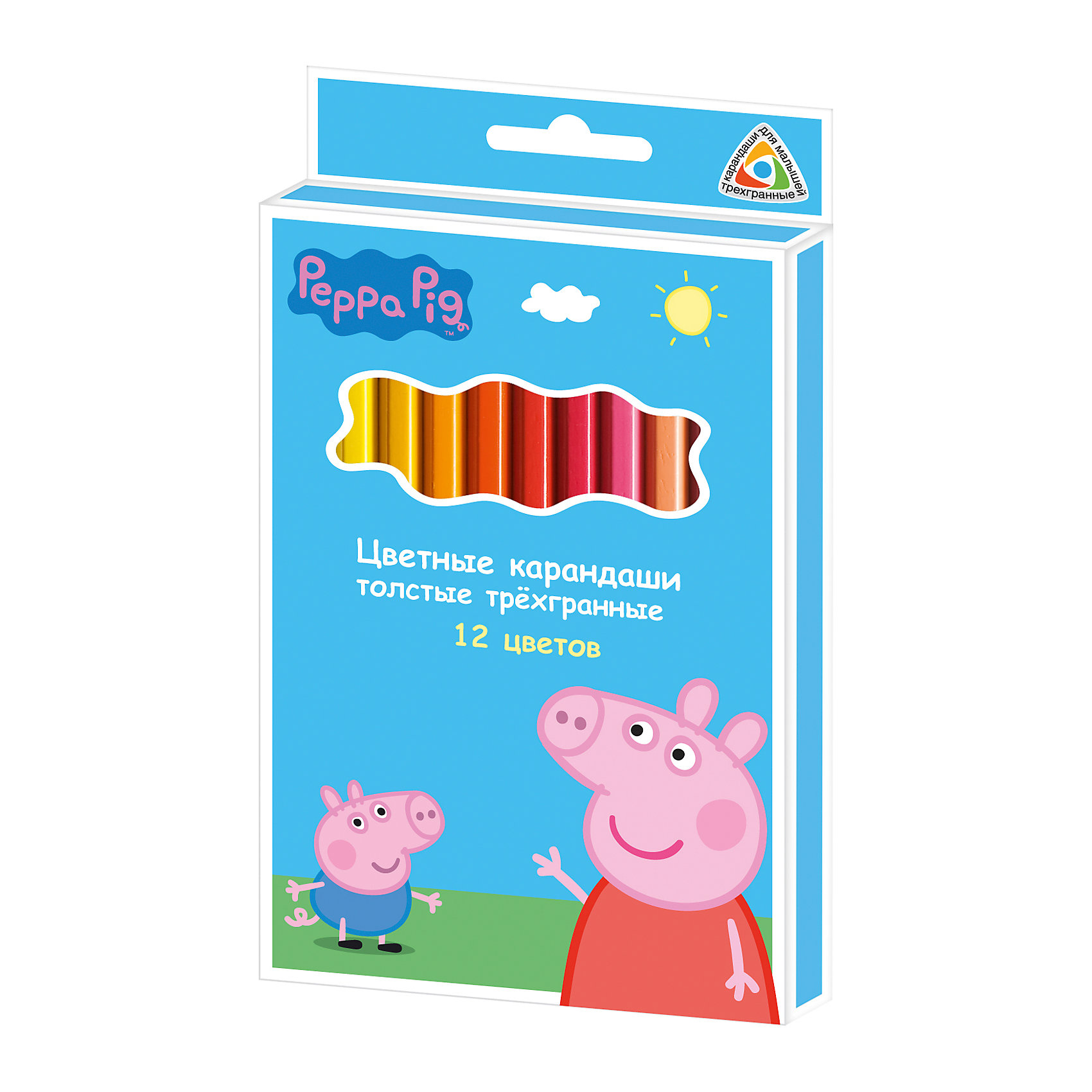 Цветные карандаши, 12 цв., Свинка ПеппаСвинка Пеппа<br>Карандаши, Свинка Пеппа, идеально подходят для рисования, письма и раскрашивания. Карандаши разработаны специально для малышей: благодаря утолщенному трехгранному корпусу и эргономичной форме, они особенно удобны для детской руки, поэтому ребенок может рисовать без усталости и правильно держать карандаш, формируя навыки правильного письма. Изготовлены из высококачественной древесины, легко затачиваются, имеют прочный грифель, который не ломается при заточке. Набор из 12 карандашей оформлен в голубую картонную коробку с изображением любимой героини из популярного мультсериала Свинка Пеппа.<br><br><br>Дополнительная информация:<br><br>- В комплекте: 12 карандашей.<br>- Материал: дерево, грифель.<br>- Толщина грифеля: 0,4 см.<br>- Размер одного карандаша: 17,5 х 1,1 см.<br>- Размер упаковки: 18 х 1 х 10,3 см.<br>- Вес: 137 гр.<br><br>Цветные карандаши, 12 цв., Свинка Пеппа, можно купить в нашем интернет-магазине.<br><br>Ширина мм: 180<br>Глубина мм: 103<br>Высота мм: 10<br>Вес г: 137<br>Возраст от месяцев: 36<br>Возраст до месяцев: 120<br>Пол: Унисекс<br>Возраст: Детский<br>SKU: 4774841