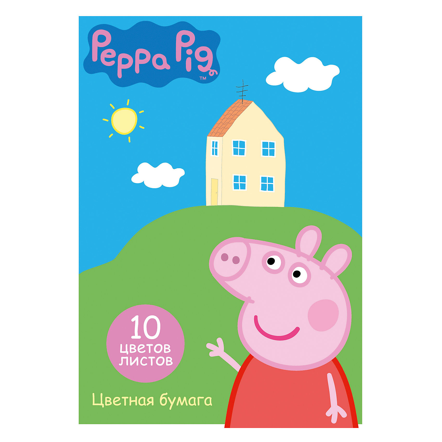 Двусторонняя цветная бумага, 10 л., 10 цв., Свинка ПеппаЦветная двусторонняя бумага, Свинка Пеппа - это отличный материал для детского творчества, поделок и аппликаций. В комплект входят 10 цветов (10 листов) мелованной бумаги с двусторонней печатью: желтый, оранжевый, красный, синий, зеленый, фиолетовый, коричневый,<br>черный, золотой, серебристый. Листы упакованы в картонную папку с двумя клапанами, украшенную изображением любимой героини из популярного мультсериала Свинка Пеппа. <br><br><br>Дополнительная информация:<br><br>- В комплекте: 10 листов цветной бумаги (10 цветов).<br>- Материал: бумага, мелованный картон.<br>- Формат: А4.<br>- Размер упаковки: 29,5 х 0,2 х 20,6 см.<br>- Вес: 81 гр.<br><br>Двустороннюю цветную бумагу, 10 л., 10 цв., Свинка Пеппа, можно купить в нашем интернет-магазине.<br><br>Ширина мм: 295<br>Глубина мм: 206<br>Высота мм: 2<br>Вес г: 81<br>Возраст от месяцев: 36<br>Возраст до месяцев: 120<br>Пол: Унисекс<br>Возраст: Детский<br>SKU: 4774846