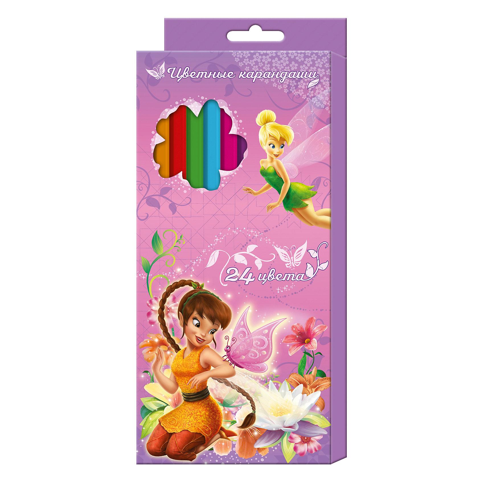Росмэн Цветные карандаши, 24 цв., Феи Дисней росмэн цветные