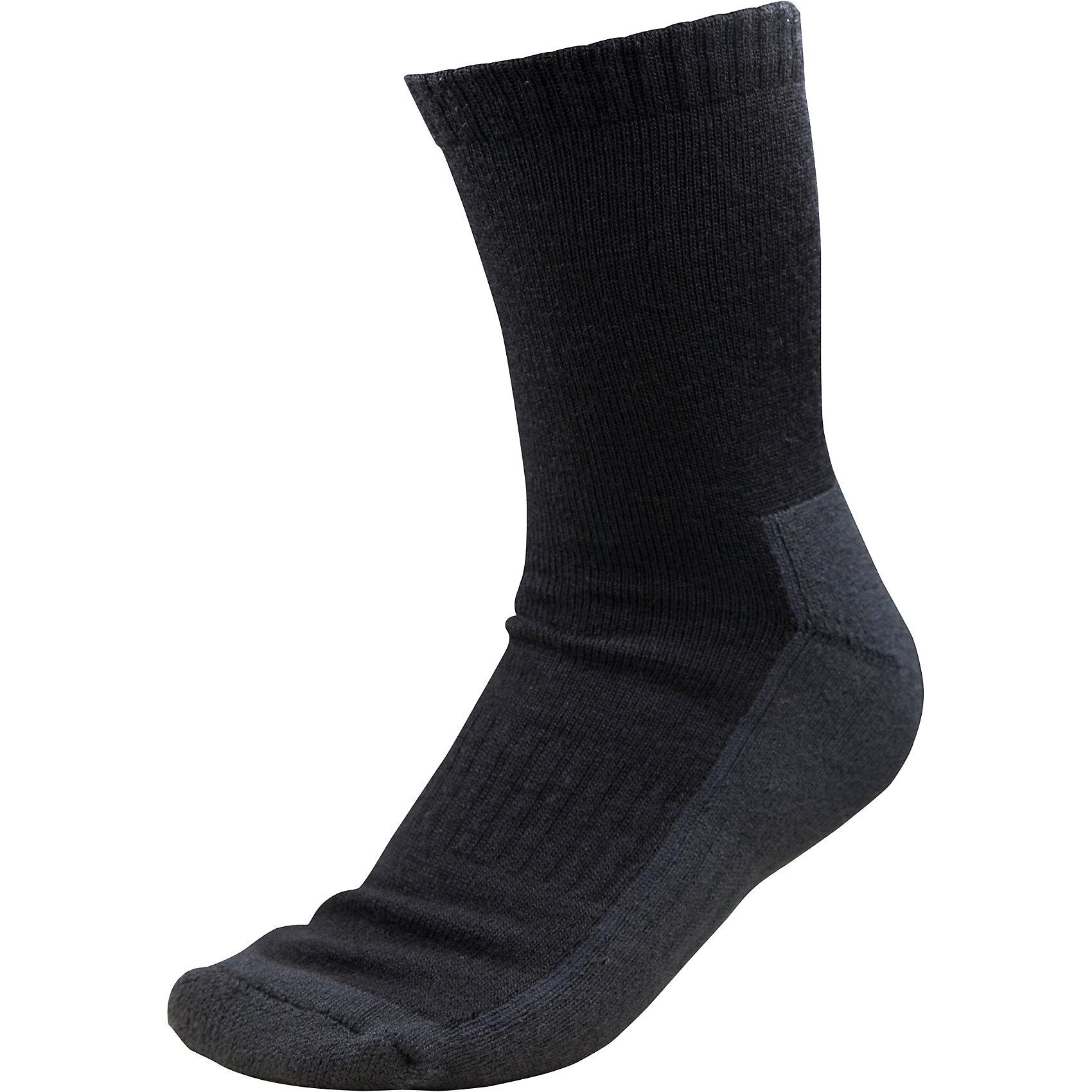 Носки Reise для мальчика ReimaНоски  Reima<br>Носки для детей и подростков. Мягкий теплый футер с внутренней стороны для максимального комфорта. Накладки на ступнях, лодыжках и больших пальцах. Благодаря удлиненной вязаной резинке носок не съезжает. Быстро сохнет и сохраняет тепло. Материал Thermolite для интенсивной физической активности.<br>Уход:<br>0<br>Состав:<br>40% ШЕРСТЬ 48% ПЭ 10% ПА 2% ЭЛ<br><br>Ширина мм: 87<br>Глубина мм: 10<br>Высота мм: 105<br>Вес г: 115<br>Цвет: черный<br>Возраст от месяцев: 96<br>Возраст до месяцев: 120<br>Пол: Мужской<br>Возраст: Детский<br>Размер: 34,30,26,38<br>SKU: 4774950