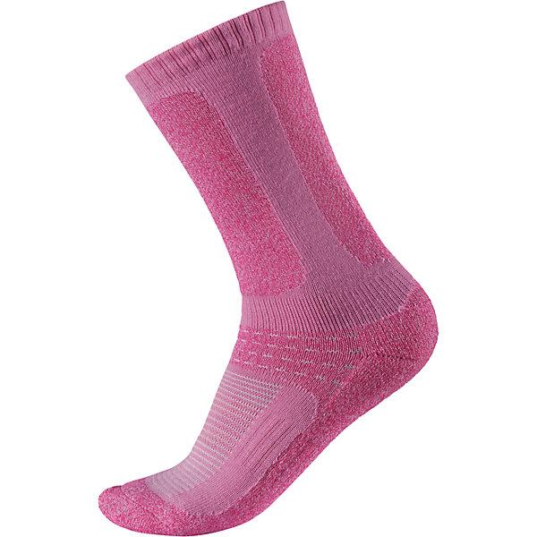 Носки Loma для девочки ReimaНоски<br>Носки  Reima<br>Носки для детей и подростков. Coolmax® отводит влагу, а шерсть сохраняет тепло. Мягкий теплый футер с внутренней стороны для максимального комфорта. Накладки на ступнях, лодыжках и больших пальцах. Благодаря удлиненной вязаной резинке носок не съезжает. Быстро сохнет и сохраняет тепло.<br>Уход:<br>0<br>Состав:<br>24% Шерсть, 66% полиэстер COOLMAX®, 5% эластан, 5% полиамид<br><br>Ширина мм: 87<br>Глубина мм: 10<br>Высота мм: 105<br>Вес г: 115<br>Цвет: розовый<br>Возраст от месяцев: 156<br>Возраст до месяцев: 168<br>Пол: Женский<br>Возраст: Детский<br>Размер: 38,26,30,34<br>SKU: 4774965