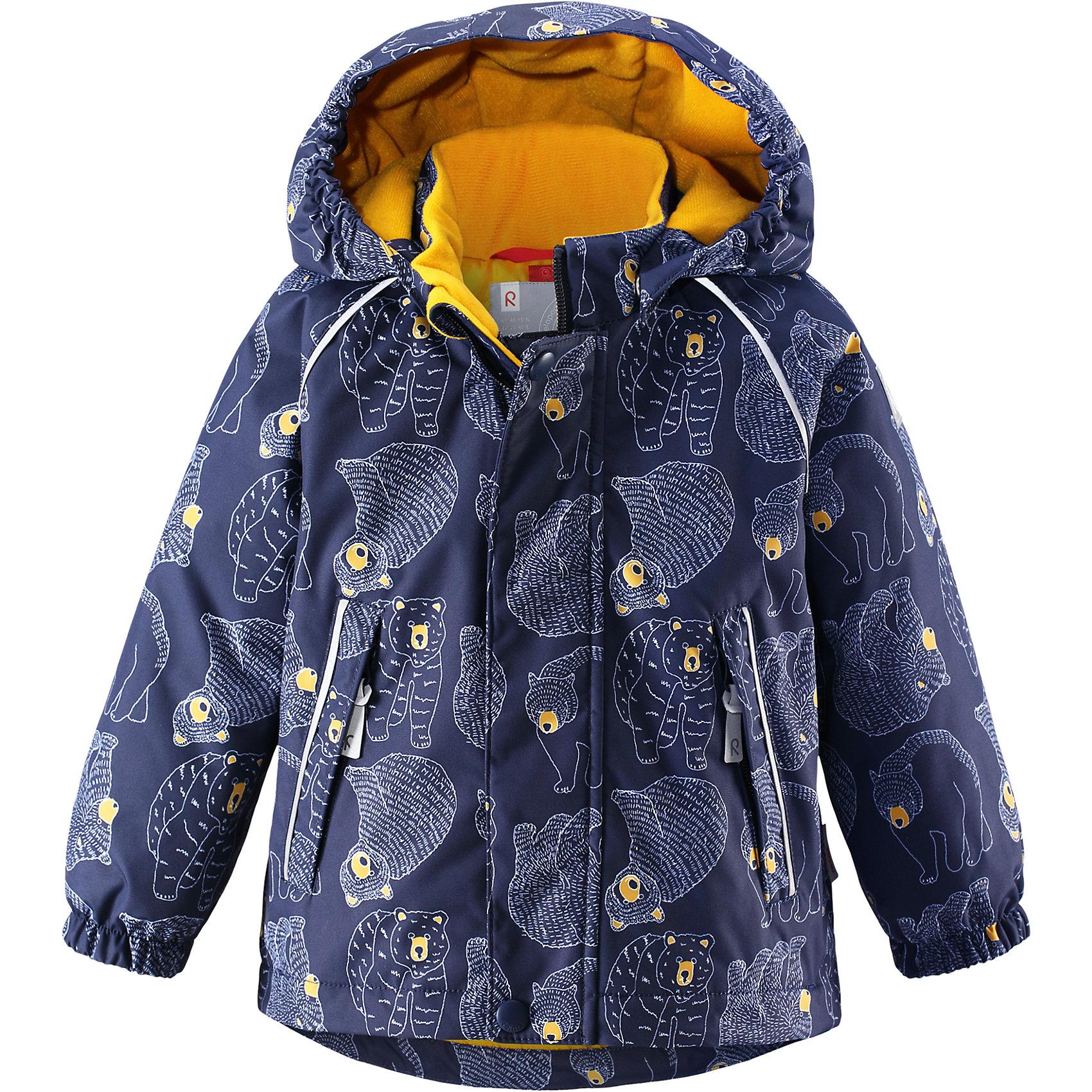Куртка для мальчика Reimatec® ReimaКуртка  Reimatec® Reima<br>Зимняя куртка для малышей. Все швы проклеены и водонепроницаемы. Водо- и ветронепроницаемый, «дышащий» и грязеотталкивающий материал. Гладкая подкладка из полиэстра. Безопасный, отстегивающийся и регулируемый капюшон. Эластичные манжеты. Регулируемый подол. Два кармана на молнии. Принт по всей поверхности. Безопасные светоотражающие детали.<br>Утеплитель: Reima® Soft Loft insulation,160 g<br>Уход:<br>Стирать по отдельности, вывернув наизнанку. Застегнуть молнии и липучки. Стирать моющим средством, не содержащим отбеливающие вещества. Полоскать без специального средства. Во избежание изменения цвета изделие необходимо вынуть из стиральной машинки незамедлительно после окончания программы стирки. Можно сушить в сушильном шкафу или центрифуге (макс. 40° C).<br>Состав:<br>100% Полиамид, полиуретановое покрытие<br><br>Ширина мм: 467<br>Глубина мм: 375<br>Высота мм: 93<br>Вес г: 510<br>Цвет: синий<br>Возраст от месяцев: 18<br>Возраст до месяцев: 36<br>Пол: Мужской<br>Возраст: Детский<br>Размер: 92,80,86,98<br>SKU: 4776026
