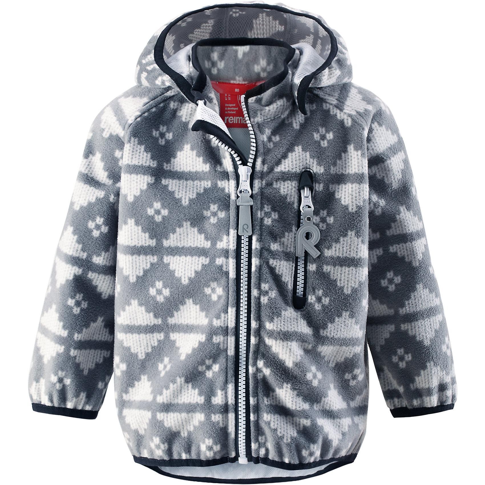 Куртка Aie ReimaФлис и термобелье<br>Куртка  Reima<br>Куртка из материала softshell для малышей. Из ветронепроницаемого материала, но изделие «дышит». Безопасный, съемный капюшон. Эластичная резинка на кромке капюшона, манжетах и подоле. Нагрудный карман на молнии. Принт по всей поверхности.<br>Уход:<br>Стирать по отдельности. Застегнуть молнии и липучки. Стирать моющим средством, не содержащим отбеливающие вещества. Полоскать без специального средства. Во избежание изменения цвета изделие необходимо вынуть из стиральной машинки незамедлительно после окончания программы стирки. Сушить при низкой температуре.<br>Состав:<br>100% Полиэстер, полиуретановая мембрана<br><br>Ширина мм: 356<br>Глубина мм: 10<br>Высота мм: 245<br>Вес г: 519<br>Цвет: серый<br>Возраст от месяцев: 12<br>Возраст до месяцев: 18<br>Пол: Унисекс<br>Возраст: Детский<br>Размер: 86,80,92,98<br>SKU: 4776041