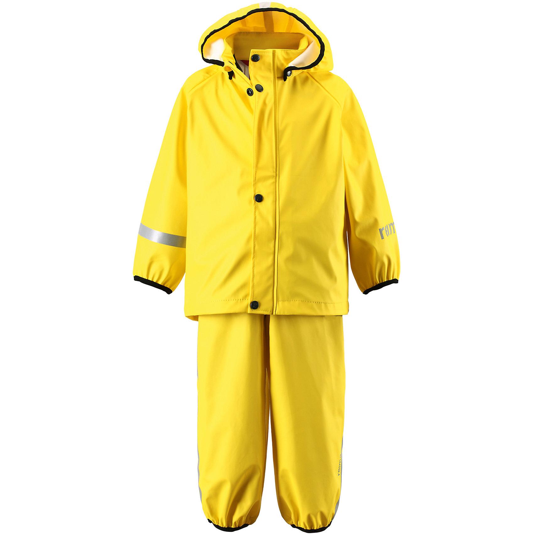 Непромокаемый комплект: куртка и брюки Tihku ReimaОдежда<br>Непромокаемый комплект: куртка и брюки Reima.<br>Комплект для дождливой погоды для малышей. Запаянные швы, не пропускающие влагу. Эластичный материал. Без ПХВ. Безопасный, съемный капюшон. Эластичная резинка на кромке капюшона. Эластичные манжеты. Регулируемый обхват талии. Эластичная резинка на штанинах. Съемные эластичные штрипки. Молния спереди. Регулируемые эластичные подтяжки. Безопасные светоотражающие детали. Отличный вариант для дождливой погоды.<br>Уход:<br>Стирать по отдельности, вывернув наизнанку. Застегнуть молнии и липучки. Стирать моющим средством, не содержащим отбеливающие вещества. Полоскать без специального средства. Во избежание изменения цвета изделие необходимо вынуть из стиральной машинки незамедлительно после окончания программы стирки. Сушить при низкой температуре.<br>Состав:<br>100% Полиамид, полиуретановое покрытие<br><br>Ширина мм: 356<br>Глубина мм: 10<br>Высота мм: 245<br>Вес г: 519<br>Цвет: желтый<br>Возраст от месяцев: 6<br>Возраст до месяцев: 9<br>Пол: Унисекс<br>Возраст: Детский<br>Размер: 74,98,110,80,104,92,86,116<br>SKU: 4776172