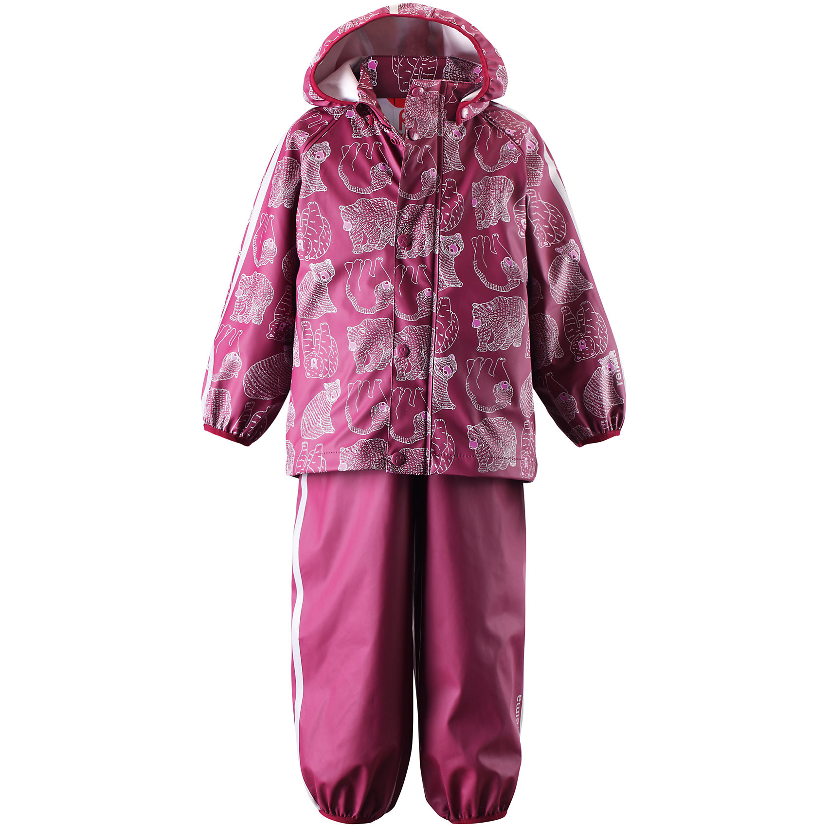 Непромокаемый комплект: куртка и брюки Kupla для девочки ReimaНепромокаемый комплект: куртка и брюки Reima<br>Комплект для дождливой погоды для малышей. Запаянные швы, не пропускающие влагу. Эластичный материал. Без ПХВ. Безопасный, съемный капюшон. Эластичная резинка на кромке капюшона. Эластичные манжеты. Регулируемый обхват талии. Эластичная резинка на штанинах. Съемные эластичные штрипки. Молния спереди. Регулируемые эластичные подтяжки. Безопасные светоотражающие детали. Отличный вариант для дождливой погоды.<br>Уход:<br>Стирать по отдельности, вывернув наизнанку. Застегнуть молнии и липучки. Стирать моющим средством, не содержащим отбеливающие вещества. Полоскать без специального средства. Во избежание изменения цвета изделие необходимо вынуть из стиральной машинки незамедлительно после окончания программы стирки. Сушить при низкой температуре.<br>Состав:<br>100% Полиамид, полиуретановое покрытие<br><br>Ширина мм: 356<br>Глубина мм: 10<br>Высота мм: 245<br>Вес г: 519<br>Цвет: розовый<br>Возраст от месяцев: 60<br>Возраст до месяцев: 72<br>Пол: Женский<br>Возраст: Детский<br>Размер: 116,104,92,110,86,80,98<br>SKU: 4776188