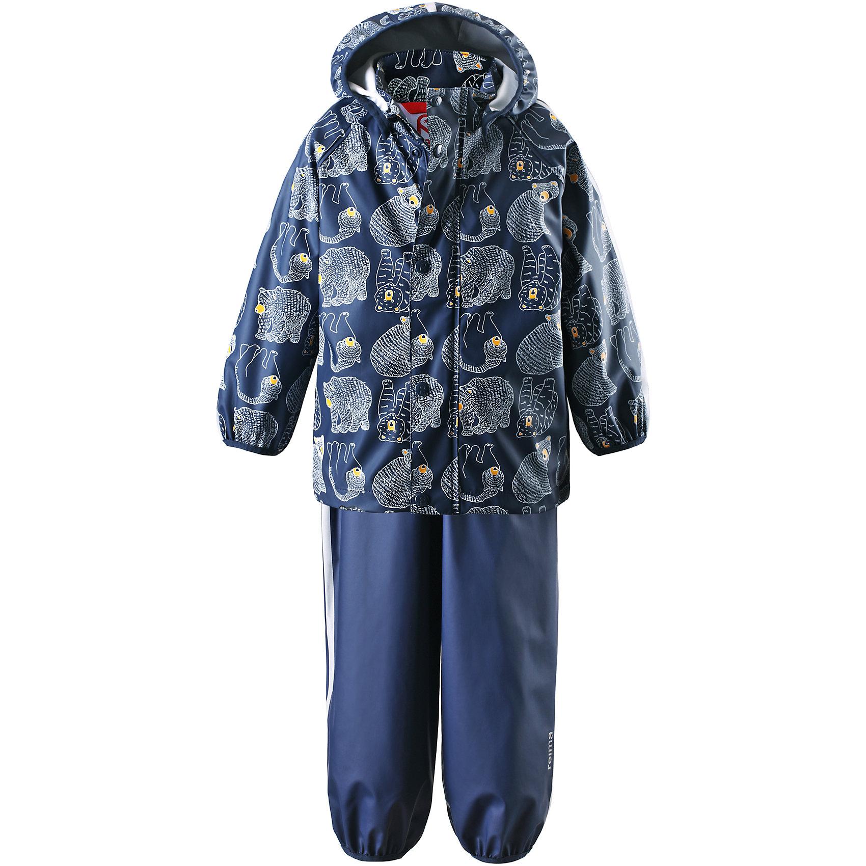 Непромокаемый комплект: куртка и брюки Kupla для мальчика ReimaНепромокаемый комплект: куртка и брюки Reima.<br>Комплект для дождливой погоды для малышей. Запаянные швы, не пропускающие влагу. Эластичный материал. Без ПХВ. Безопасный, съемный капюшон. Эластичная резинка на кромке капюшона. Эластичные манжеты. Регулируемый обхват талии. Эластичная резинка на штанинах. Съемные эластичные штрипки. Молния спереди. Регулируемые эластичные подтяжки. Безопасные светоотражающие детали. Отличный вариант для дождливой погоды.<br>Уход:<br>Стирать по отдельности, вывернув наизнанку. Застегнуть молнии и липучки. Стирать моющим средством, не содержащим отбеливающие вещества. Полоскать без специального средства. Во избежание изменения цвета изделие необходимо вынуть из стиральной машинки незамедлительно после окончания программы стирки. Сушить при низкой температуре.<br>Состав:<br>100% Полиамид, полиуретановое покрытие<br><br>Ширина мм: 356<br>Глубина мм: 10<br>Высота мм: 245<br>Вес г: 519<br>Цвет: синий<br>Возраст от месяцев: 36<br>Возраст до месяцев: 48<br>Пол: Мужской<br>Возраст: Детский<br>Размер: 110,80,98,116,86,104,92<br>SKU: 4776196