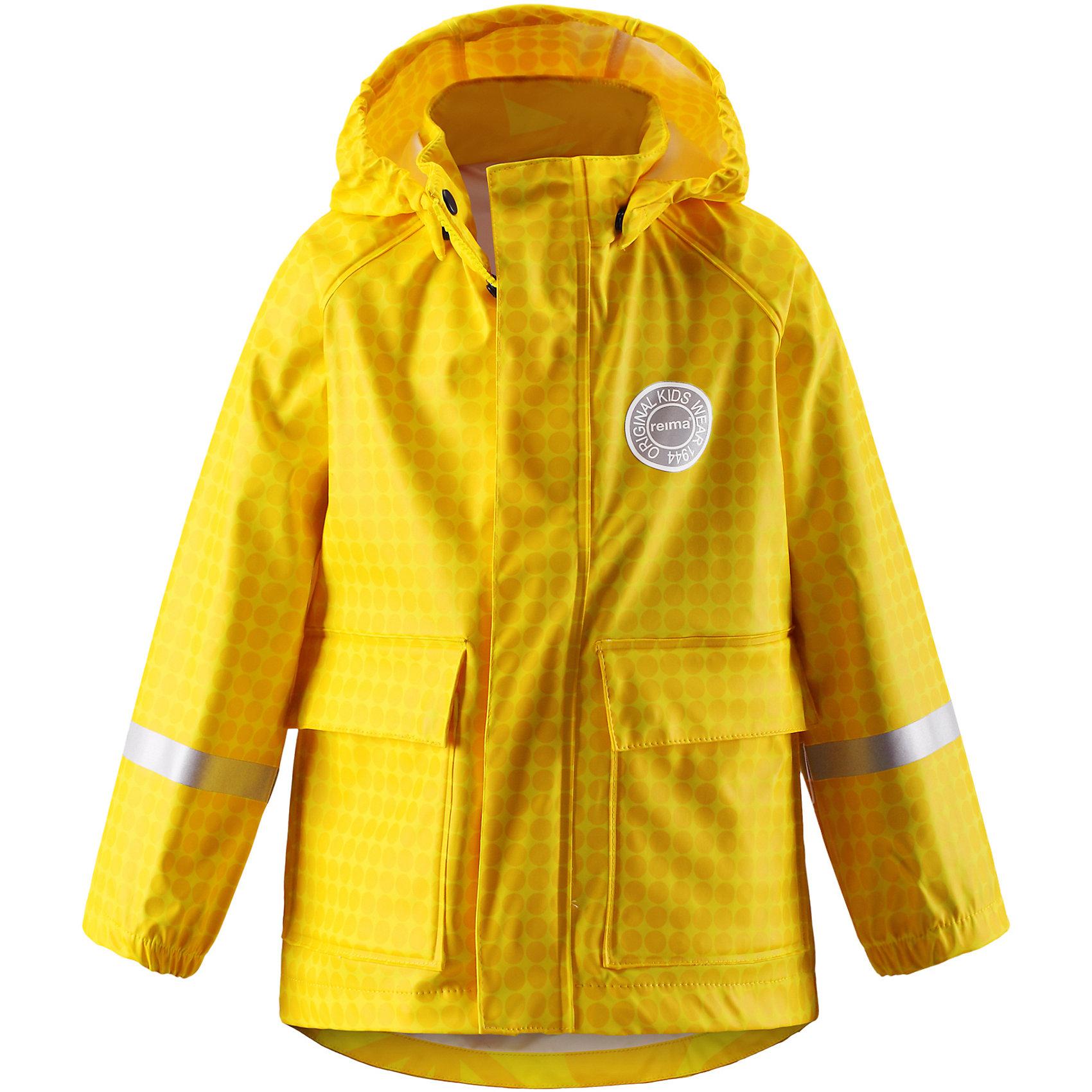 Плащ-дождевик Vihma ReimaОдежда<br>Плащ-дождевик  Reima<br>Куртка-дождевик для детей. Запаянные швы, не пропускающие влагу. Эластичный материал. Без ПХВМожет пристегиваться к слоям Reima® кнопками Play Layers®. Безопасный, съемный капюшон. Эластичные манжеты. Молния спереди. Два прорезных кармана. Принт по всей поверхности. Безопасные светоотражающие детали. Отличный вариант для дождливой погоды.<br>Уход:<br>Стирать по отдельности, вывернув наизнанку. Застегнуть молнии и липучки. Стирать моющим средством, не содержащим отбеливающие вещества. Полоскать без специального средства. Во избежание изменения цвета изделие необходимо вынуть из стиральной машинки незамедлительно после окончания программы стирки. Сушить при низкой температуре.<br>Состав:<br>100% Полиамид, полиуретановое покрытие<br><br>Ширина мм: 356<br>Глубина мм: 10<br>Высота мм: 245<br>Вес г: 519<br>Цвет: желтый<br>Возраст от месяцев: 48<br>Возраст до месяцев: 60<br>Пол: Унисекс<br>Возраст: Детский<br>Размер: 110,116,140,128,134,122,104<br>SKU: 4776516
