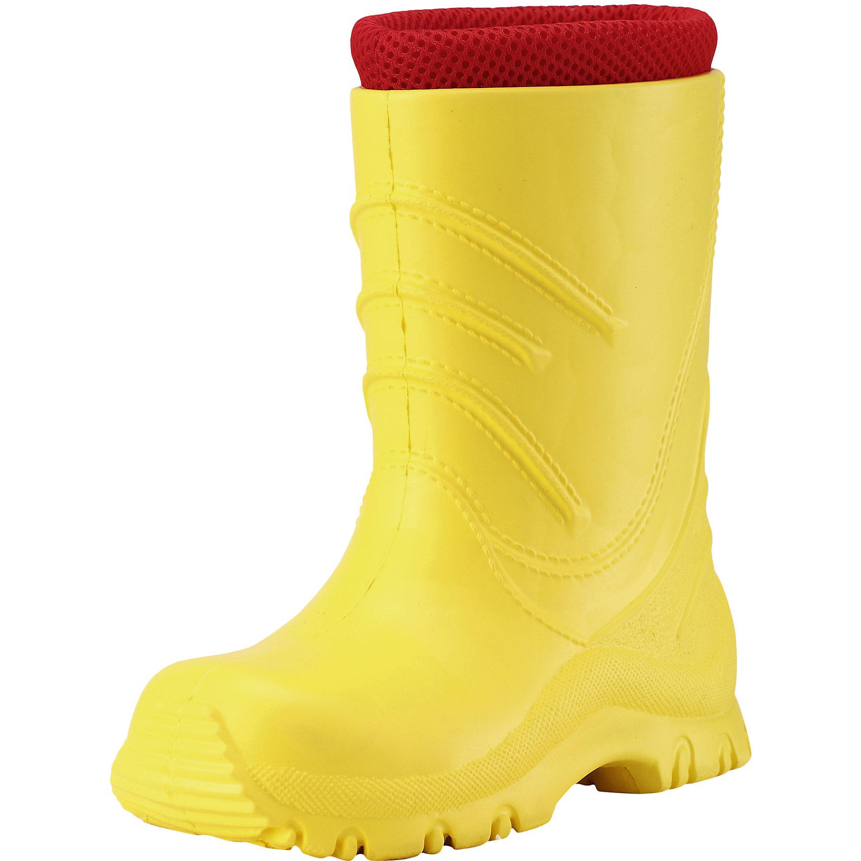 Резиновые сапоги Frillo Reimatec® ReimaОбувь<br>Резиновые сапоги  Reimatec® Reima<br>Резиновые сапоги для детей и малышей. Водонепроницаемая демисезонная обувь. Эластичная и легкая подошва из ЭВА. Текстильная подкладка. Съемный носок. Легко надеваются на ноги. Без ПХВ.<br>Уход:<br>Храните обувь в вертикальном положении при комнатной температуре. Сушить обувь всегда следует при комнатной температуре: вынув съемные стельки. Стельки следует время от времени заменять на новые. Налипшую грязь можно счищать щеткой или влажной тряпкой. Перед использованием обувь рекомендуется обрабатывать специальными защитными средствами.<br>Состав:<br>Подошва: 100% EVA, Верх: 100% EVA<br><br>Ширина мм: 237<br>Глубина мм: 180<br>Высота мм: 152<br>Вес г: 438<br>Цвет: желтый<br>Возраст от месяцев: 120<br>Возраст до месяцев: 132<br>Пол: Унисекс<br>Возраст: Детский<br>Размер: 34,28,30,26,32,22,24<br>SKU: 4776656