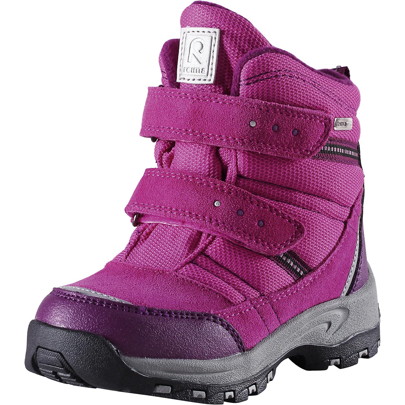 Ботинки Visby для девочки Reimatec® ReimaОбувь<br>Ботинки  Reimatec® Reima<br>Зимние сапоги для детей. Водонепроницаемая зимняя обувь. Верх из натуральной замши (из телячьей кожи), синтетического материала и текстиля. Эластичная и прочная резиновая подошва Reima® для максимальной устойчивости. Водонепроницаемая конструкция с герметичными вставками и подкладкой из искусственного меха. Подкладка из искусственного меха. Съемные стельки из войлока с рисунком Happy Fit, который помогает определить размер. Простая застежка на липучке, имеющая две точки крепления. Светоотражающие детали.<br>Уход:<br>Храните обувь в вертикальном положении при комнатной температуре. Сушить обувь всегда следует при комнатной температуре: вынув съемные стельки. Стельки следует время от времени заменять на новые. Налипшую грязь можно счищать щеткой или влажной тряпкой. Перед использованием обувь рекомендуется обрабатывать специальными защитными средствами.<br>Состав:<br>Подошва: 100% резина, Верх: 60% ПЭ, 20% ПУ, 20% Кожа<br><br>Ширина мм: 262<br>Глубина мм: 176<br>Высота мм: 97<br>Вес г: 427<br>Цвет: розовый<br>Возраст от месяцев: 84<br>Возраст до месяцев: 96<br>Пол: Женский<br>Возраст: Детский<br>Размер: 31,34,33,28,25,32,24,26,35,30,29,27<br>SKU: 4776905