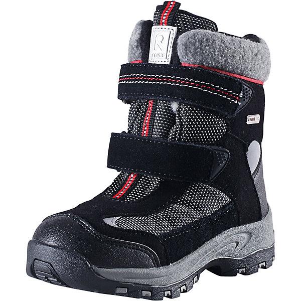 Ботинки Kinos для мальчика Reimatec® ReimaОбувь<br>Ботинки Reimatec® Reima<br>Зимние ботинки для детей. Водонепроницаемая зимняя обувь. Верх из натуральной замши (из телячьей кожи), синтетического материала и текстиля. Эластичная и прочная резиновая подошва Reima® для максимальной устойчивости. Подкладка из смеси шерсти. Съемные стельки из войлока с рисунком Happy Fit, который помогает определить размер. Простая застежка на липучке, имеющая две точки крепления. Светоотражающие детали.<br>Уход:<br>Храните обувь в вертикальном положении при комнатной температуре. Сушить обувь всегда следует при комнатной температуре: вынув съемные стельки. Стельки следует время от времени заменять на новые. Налипшую грязь можно счищать щеткой или влажной тряпкой. Перед использованием обувь рекомендуется обрабатывать специальными защитными средствами.<br>Состав:<br>Подошва: Термопластиковая резина, Верх: 80% ПЭ 20% Кожа<br><br>Ширина мм: 262<br>Глубина мм: 176<br>Высота мм: 97<br>Вес г: 427<br>Цвет: черный<br>Возраст от месяцев: 36<br>Возраст до месяцев: 48<br>Пол: Мужской<br>Возраст: Детский<br>Размер: 27,28,32,34,35,26,24,33,31,29,25,30<br>SKU: 4776994