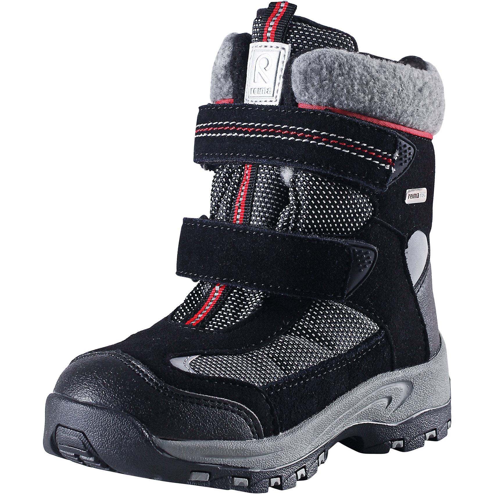Ботинки Kinos для мальчика Reimatec® ReimaОбувь<br>Ботинки Reimatec® Reima<br>Зимние ботинки для детей. Водонепроницаемая зимняя обувь. Верх из натуральной замши (из телячьей кожи), синтетического материала и текстиля. Эластичная и прочная резиновая подошва Reima® для максимальной устойчивости. Подкладка из смеси шерсти. Съемные стельки из войлока с рисунком Happy Fit, который помогает определить размер. Простая застежка на липучке, имеющая две точки крепления. Светоотражающие детали.<br>Уход:<br>Храните обувь в вертикальном положении при комнатной температуре. Сушить обувь всегда следует при комнатной температуре: вынув съемные стельки. Стельки следует время от времени заменять на новые. Налипшую грязь можно счищать щеткой или влажной тряпкой. Перед использованием обувь рекомендуется обрабатывать специальными защитными средствами.<br>Состав:<br>Подошва: Термопластиковая резина, Верх: 80% ПЭ 20% Кожа<br><br>Ширина мм: 262<br>Глубина мм: 176<br>Высота мм: 97<br>Вес г: 427<br>Цвет: черный<br>Возраст от месяцев: 36<br>Возраст до месяцев: 48<br>Пол: Мужской<br>Возраст: Детский<br>Размер: 27,35,34,32,28,30,25,29,31,33,24,26<br>SKU: 4776994