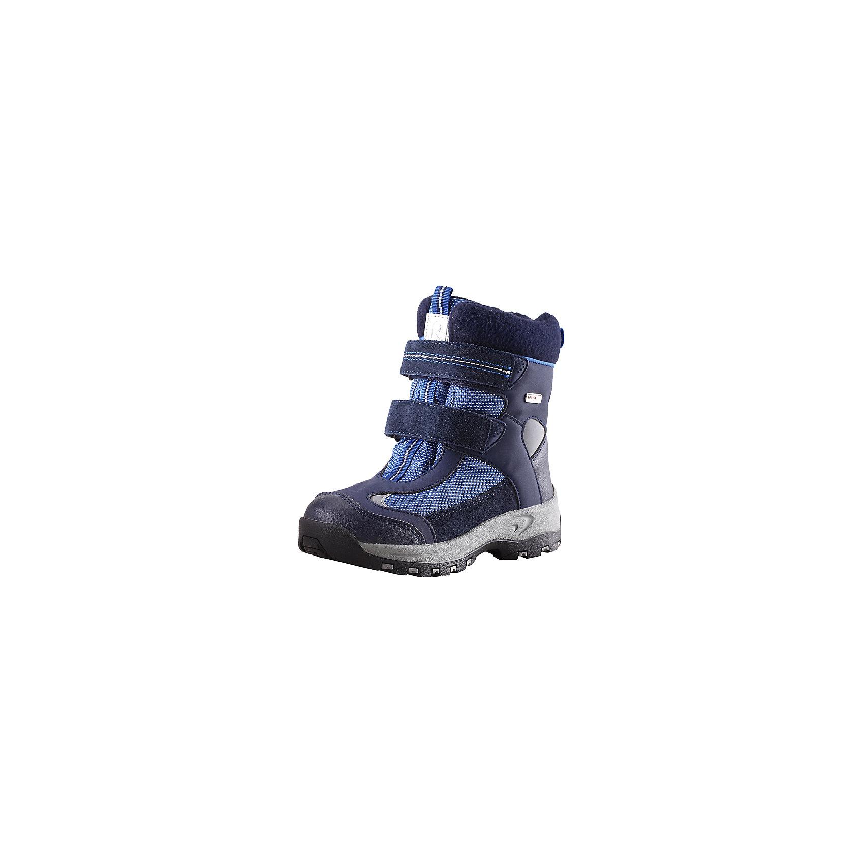 Ботинки Kinos Reimatec® ReimaОбувь<br>Ботинки Reimatec® Reima<br>Зимние ботинки для детей. Водонепроницаемая зимняя обувь. Верх из натуральной замши (из телячьей кожи), синтетического материала и текстиля. Эластичная и прочная резиновая подошва Reima® для максимальной устойчивости. Подкладка из смеси шерсти. Съемные стельки из войлока с рисунком Happy Fit, который помогает определить размер. Простая застежка на липучке, имеющая две точки крепления. Светоотражающие детали.<br>Уход:<br>Храните обувь в вертикальном положении при комнатной температуре. Сушить обувь всегда следует при комнатной температуре: вынув съемные стельки. Стельки следует время от времени заменять на новые. Налипшую грязь можно счищать щеткой или влажной тряпкой. Перед использованием обувь рекомендуется обрабатывать специальными защитными средствами.<br>Состав:<br>Подошва: Термопластиковая резина, Верх: 80% ПЭ 20% Кожа<br><br>Ширина мм: 262<br>Глубина мм: 176<br>Высота мм: 97<br>Вес г: 427<br>Цвет: синий<br>Возраст от месяцев: 24<br>Возраст до месяцев: 36<br>Пол: Мужской<br>Возраст: Детский<br>Размер: 26,32,33,29,31,30,25,27,34,35,28,24<br>SKU: 4777007