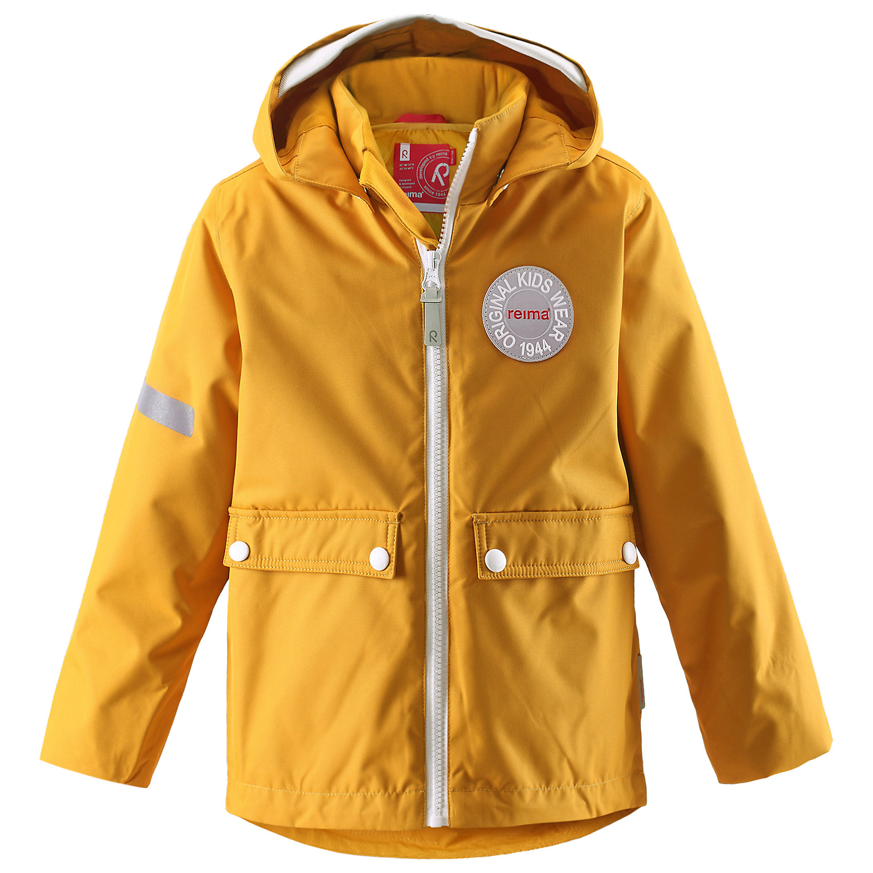 Куртка Taag ReimaКуртка  Reima<br>Зимняя куртка для детей. Основные швы проклеены и не пропускают влагу. Водо- и ветронепроницаемый, «дышащий» и грязеотталкивающий материал. Съемная стеганная подкладка. Безопасный, съемный капюшон. Мягкая резинка на кромке капюшона и манжетах. Регулируемый подол. Два кармана с клапанами.<br>Утеплитель: Reima® Soft Loft insulation,160 g<br>Уход:<br>Стирать по отдельности, вывернув наизнанку. Застегнуть молнии и липучки. Стирать моющим средством, не содержащим отбеливающие вещества. Полоскать без специального средства. Во избежание изменения цвета изделие необходимо вынуть из стиральной машинки незамедлительно после окончания программы стирки. Сушить при низкой температуре. <br>Состав:<br>100% Полиамид, полиуретановое покрытие<br><br>Ширина мм: 356<br>Глубина мм: 10<br>Высота мм: 245<br>Вес г: 519<br>Цвет: желтый<br>Возраст от месяцев: 60<br>Возраст до месяцев: 72<br>Пол: Унисекс<br>Возраст: Детский<br>Размер: 116,122,110,140,134,128,104,98,92<br>SKU: 4777926