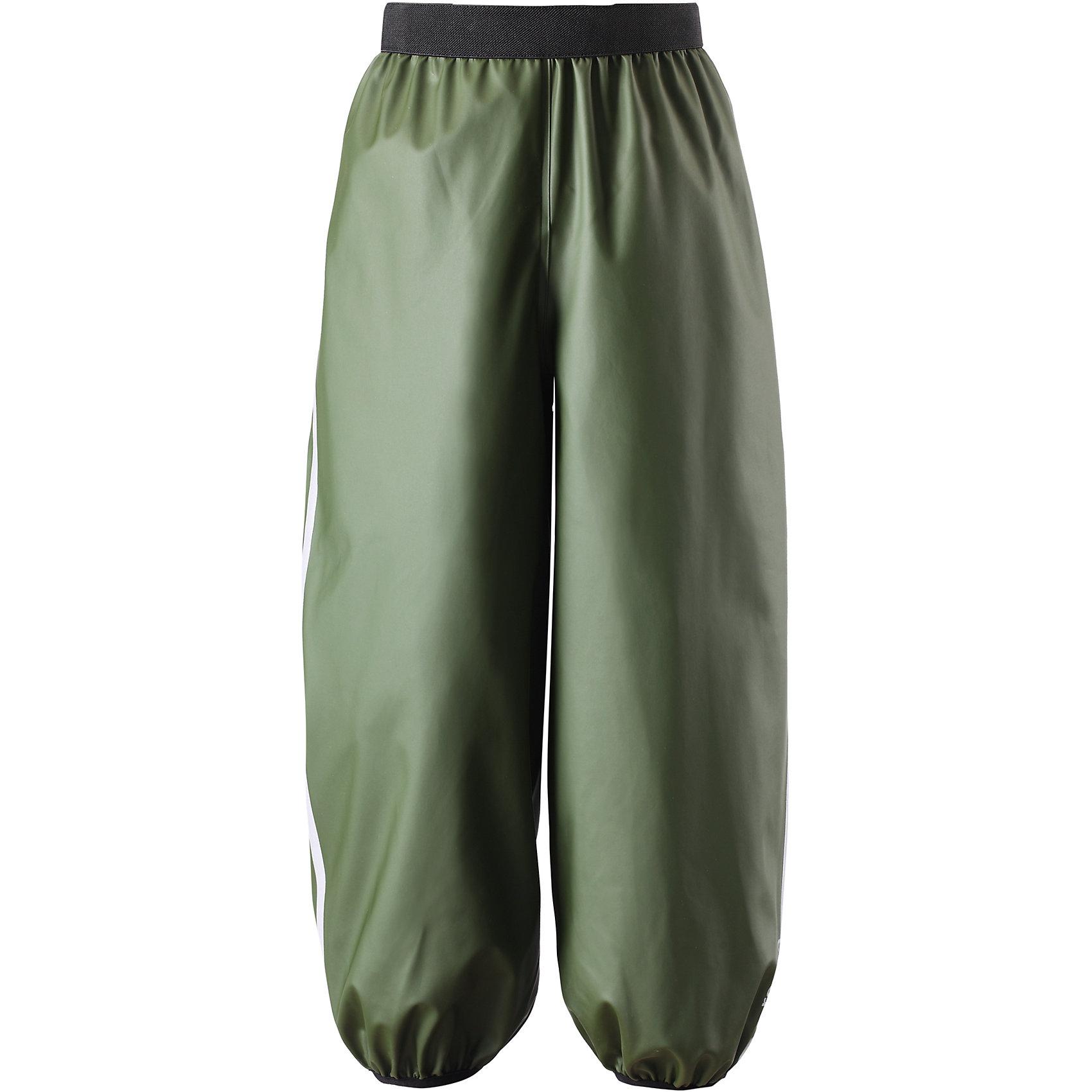 Непромокаемые брюки Oja для мальчика ReimaОдежда<br>Непромокаемые брюки Reima.<br>Детские брюки для дождливой погоды. Запаянные швы, не пропускающие влагу. Эластичный материал. Без ПХВ. Эластичная талия. Съемные штрипки в размерах от 104 до 128 см. Безопасные светоотражающие детали. Отличный вариант для дождливой погоды.<br>Уход:<br>Стирать по отдельности, вывернув наизнанку. Стирать моющим средством, не содержащим отбеливающие вещества. Полоскать без специального средства. Во избежание изменения цвета изделие необходимо вынуть из стиральной машинки незамедлительно после окончания программы стирки. Сушить при низкой температуре.<br>Состав:<br>100% Полиамид, полиуретановое покрытие<br><br>Ширина мм: 215<br>Глубина мм: 88<br>Высота мм: 191<br>Вес г: 336<br>Цвет: зеленый<br>Возраст от месяцев: 96<br>Возраст до месяцев: 108<br>Пол: Мужской<br>Возраст: Детский<br>Размер: 134,140,122,104,128,116,110<br>SKU: 4777972