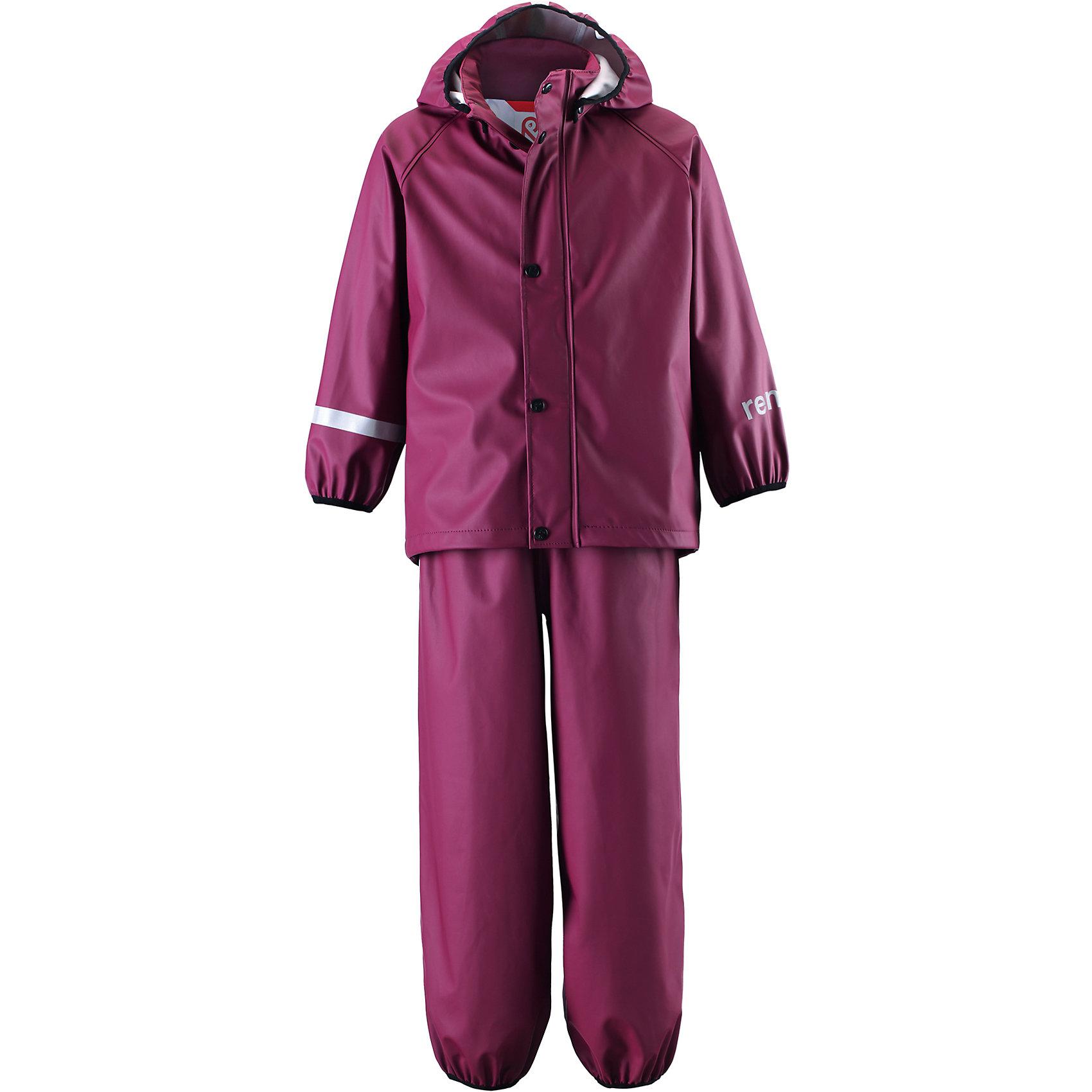 Непромокаемый комплект: куртка и брюки Viima для девочки ReimaОдежда<br>Непромокаемый комплект: куртка и брюки Reima.<br>Комплект для дождливой погоды для детей. Запаянные швы, не пропускающие влагу. Эластичный материал. Без ПХВ. Безопасный, съемный капюшон. Эластичная резинка на кромке капюшона. Эластичные манжеты. Эластичная талия. Эластичная резинка на штанинах. Съемные штрипки в размерах от 104 до 128 см. Молния спереди. Безопасные светоотражающие детали. Отличный вариант для дождливой погоды.<br>Уход:<br>Стирать по отдельности, вывернув наизнанку. Застегнуть молнии и липучки. Стирать моющим средством, не содержащим отбеливающие вещества. Полоскать без специального средства. Во избежание изменения цвета изделие необходимо вынуть из стиральной машинки незамедлительно после окончания программы стирки. Сушить при низкой температуре.<br>Состав:<br>100% Полиамид, полиуретановое покрытие<br><br>Ширина мм: 356<br>Глубина мм: 10<br>Высота мм: 245<br>Вес г: 519<br>Цвет: лиловый<br>Возраст от месяцев: 72<br>Возраст до месяцев: 84<br>Пол: Женский<br>Возраст: Детский<br>Размер: 122,140,128,134,116<br>SKU: 4778127