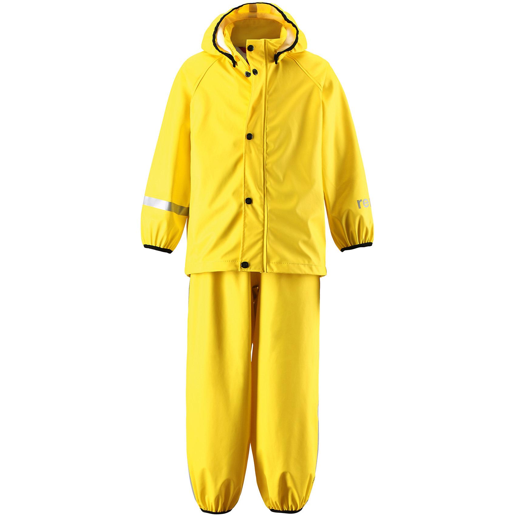 Непромокаемый комплект:куртка и брюки Viima ReimaОдежда<br>Непромокаемый комплект:куртка и брюки Reima.<br>Комплект для дождливой погоды для детей. Запаянные швы, не пропускающие влагу. Эластичный материал. Без ПХВ. Безопасный, съемный капюшон. Эластичная резинка на кромке капюшона. Эластичные манжеты. Эластичная талия. Эластичная резинка на штанинах. Съемные штрипки в размерах от 104 до 128 см. Молния спереди. Безопасные светоотражающие детали. Отличный вариант для дождливой погоды.<br>Уход:<br>Стирать по отдельности, вывернув наизнанку. Застегнуть молнии и липучки. Стирать моющим средством, не содержащим отбеливающие вещества. Полоскать без специального средства. Во избежание изменения цвета изделие необходимо вынуть из стиральной машинки незамедлительно после окончания программы стирки. Сушить при низкой температуре.<br>Состав:<br>100% Полиамид, полиуретановое покрытие<br><br>Ширина мм: 356<br>Глубина мм: 10<br>Высота мм: 245<br>Вес г: 519<br>Цвет: желтый<br>Возраст от месяцев: 60<br>Возраст до месяцев: 72<br>Пол: Унисекс<br>Возраст: Детский<br>Размер: 116,134,140,128,122<br>SKU: 4778133