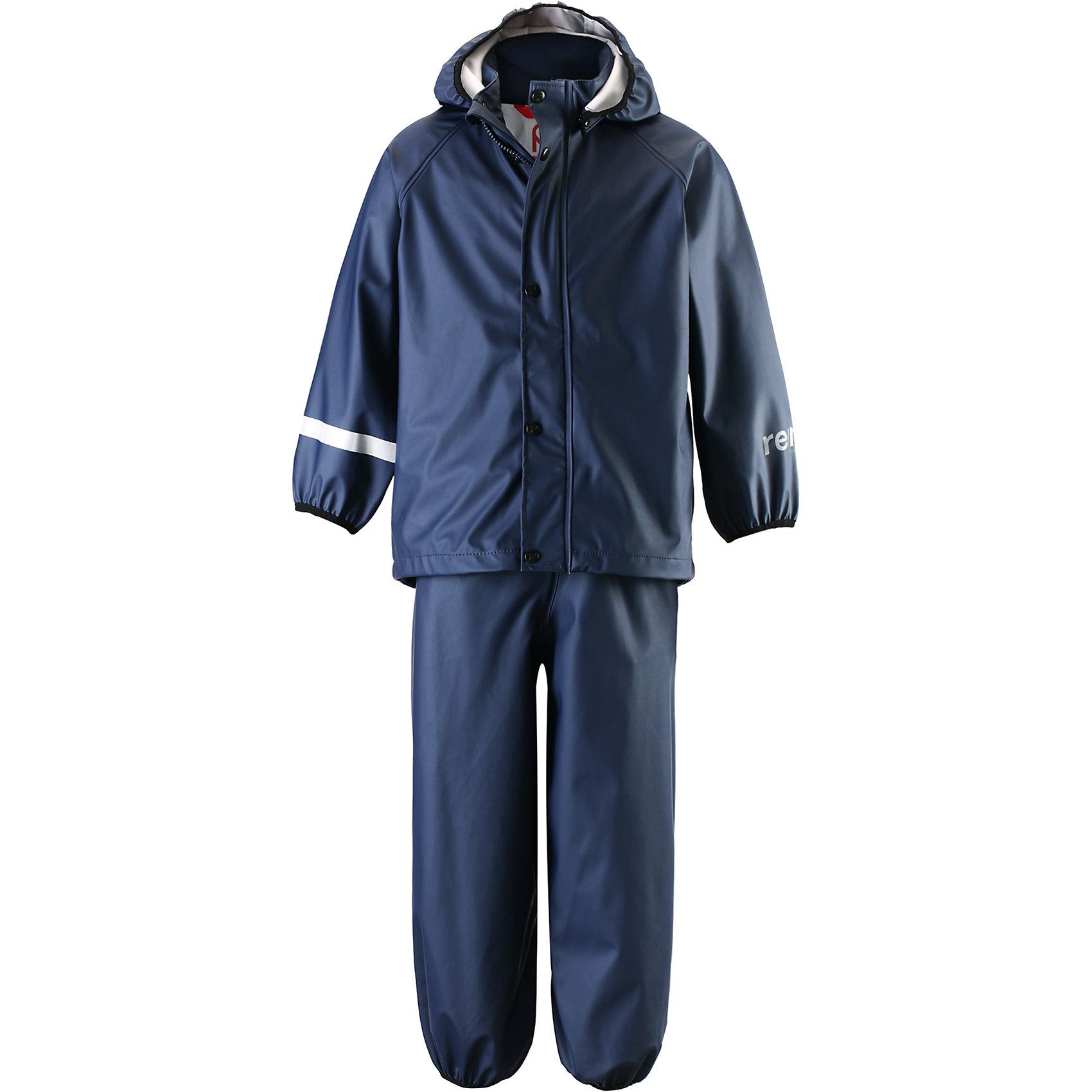 Непромокаемый комплект: куртка и брюки Viima для мальчика ReimaОдежда<br>Непромокаемый комплект: куртка и брюки Reima.<br>Комплект для дождливой погоды для детей. Запаянные швы, не пропускающие влагу. Эластичный материал. Без ПХВ. Безопасный, съемный капюшон. Эластичная резинка на кромке капюшона. Эластичные манжеты. Эластичная талия. Эластичная резинка на штанинах. Съемные штрипки в размерах от 104 до 128 см. Молния спереди. Безопасные светоотражающие детали. Отличный вариант для дождливой погоды.<br>Уход:<br>Стирать по отдельности, вывернув наизнанку. Застегнуть молнии и липучки. Стирать моющим средством, не содержащим отбеливающие вещества. Полоскать без специального средства. Во избежание изменения цвета изделие необходимо вынуть из стиральной машинки незамедлительно после окончания программы стирки. Сушить при низкой температуре.<br>Состав:<br>100% Полиамид, полиуретановое покрытие<br><br>Ширина мм: 356<br>Глубина мм: 10<br>Высота мм: 245<br>Вес г: 519<br>Цвет: синий<br>Возраст от месяцев: 60<br>Возраст до месяцев: 72<br>Пол: Мужской<br>Возраст: Детский<br>Размер: 116,140,122,134,128<br>SKU: 4778139