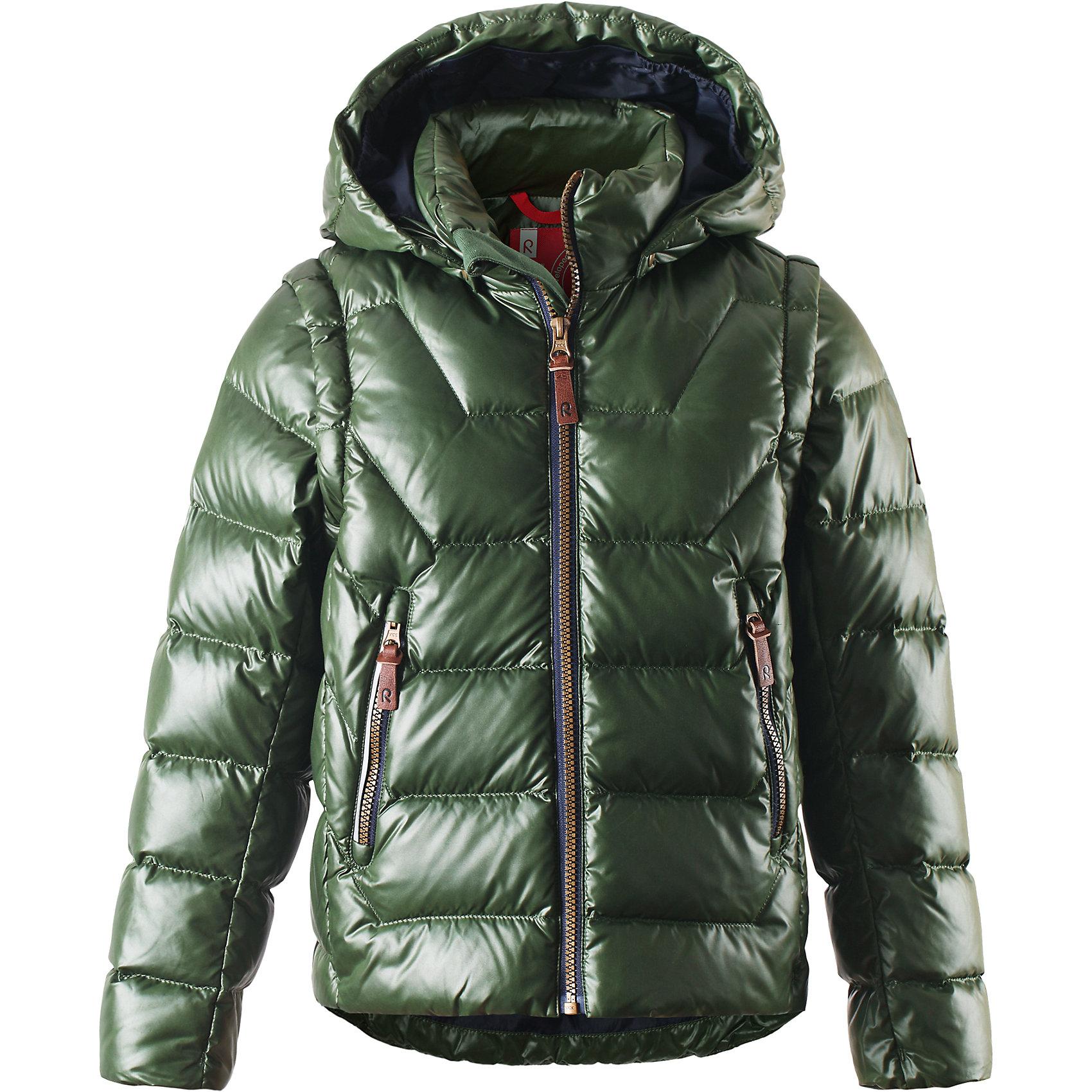 Куртка Spruce для мальчика ReimaКуртка для мальчика Reima<br>Пуховая куртка для подростков . Водоотталкивающий, ветронепроницаемый, «дышащий» и грязеотталкивающий материал. Гладкая подкладка из полиэстра. В качестве утеплителя использованы пух и перо (60%/40%). Безопасный, съемный капюшон. Эластичные манжеты. Отстегивающиеся рукава на молнии. Эластичная кромка подола. Два кармана на молнии. Безопасные светоотражающие детали.<br>Уход:<br>Стирать по отдельности, вывернув наизнанку. Застегнуть молнии и липучки. Стирать моющим средством, не содержащим отбеливающие вещества. Полоскать без специального средства. Во избежание изменения цвета изделие необходимо вынуть из стиральной машинки незамедлительно после окончания программы стирки. Барабанное сушение при низкой температуре с 3 теннисными мячиками. Выверните изделие наизнанку в середине сушки.<br>Состав:<br>100% Полиэстер<br><br>Ширина мм: 356<br>Глубина мм: 10<br>Высота мм: 245<br>Вес г: 519<br>Цвет: зеленый<br>Возраст от месяцев: 84<br>Возраст до месяцев: 96<br>Пол: Мужской<br>Возраст: Детский<br>Размер: 128,134,122,116,140,164,146,158,152<br>SKU: 4778165