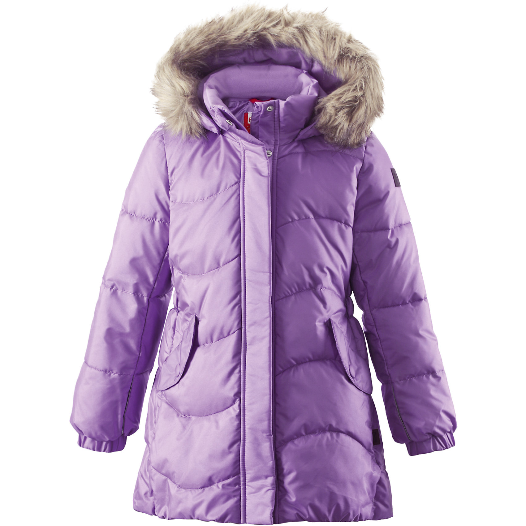 Пальто Sula для девочки ReimaОдежда<br>Пальто для девочки Reima<br>Зимняя куртка для подростков. Водоотталкивающий, ветронепроницаемый, «дышащий» и грязеотталкивающий материал. Крой для девочек. Гладкая подкладка из полиэстра. Имитация пуха. Безопасный съемный капюшон с отсоединяемой меховой каймой из искусственного меха. Эластичные манжеты. Эластичная талия. Два кармана с клапанами. Безопасные светоотражающие элементы. Петля для дополнительных светоотражающих деталей.<br>Утеплитель: Reima® Pearl insulation,170 g<br>Уход:<br>Стирать по отдельности, вывернув наизнанку. Перед стиркой отстегните искусственный мех. Застегнуть молнии и липучки. Стирать моющим средством, не содержащим отбеливающие вещества. Полоскать без специального средства. Во избежание изменения цвета изделие необходимо вынуть из стиральной машинки незамедлительно после окончания программы стирки. Сушить при низкой температуре.<br>Состав:<br>65% Полиамид, 35% Полиэстер, полиуретановое покрытие<br><br>Ширина мм: 356<br>Глубина мм: 10<br>Высота мм: 245<br>Вес г: 519<br>Цвет: фиолетовый<br>Возраст от месяцев: 72<br>Возраст до месяцев: 84<br>Пол: Женский<br>Возраст: Детский<br>Размер: 104,146,134,116,164,122,158,110,140,152,128<br>SKU: 4778291