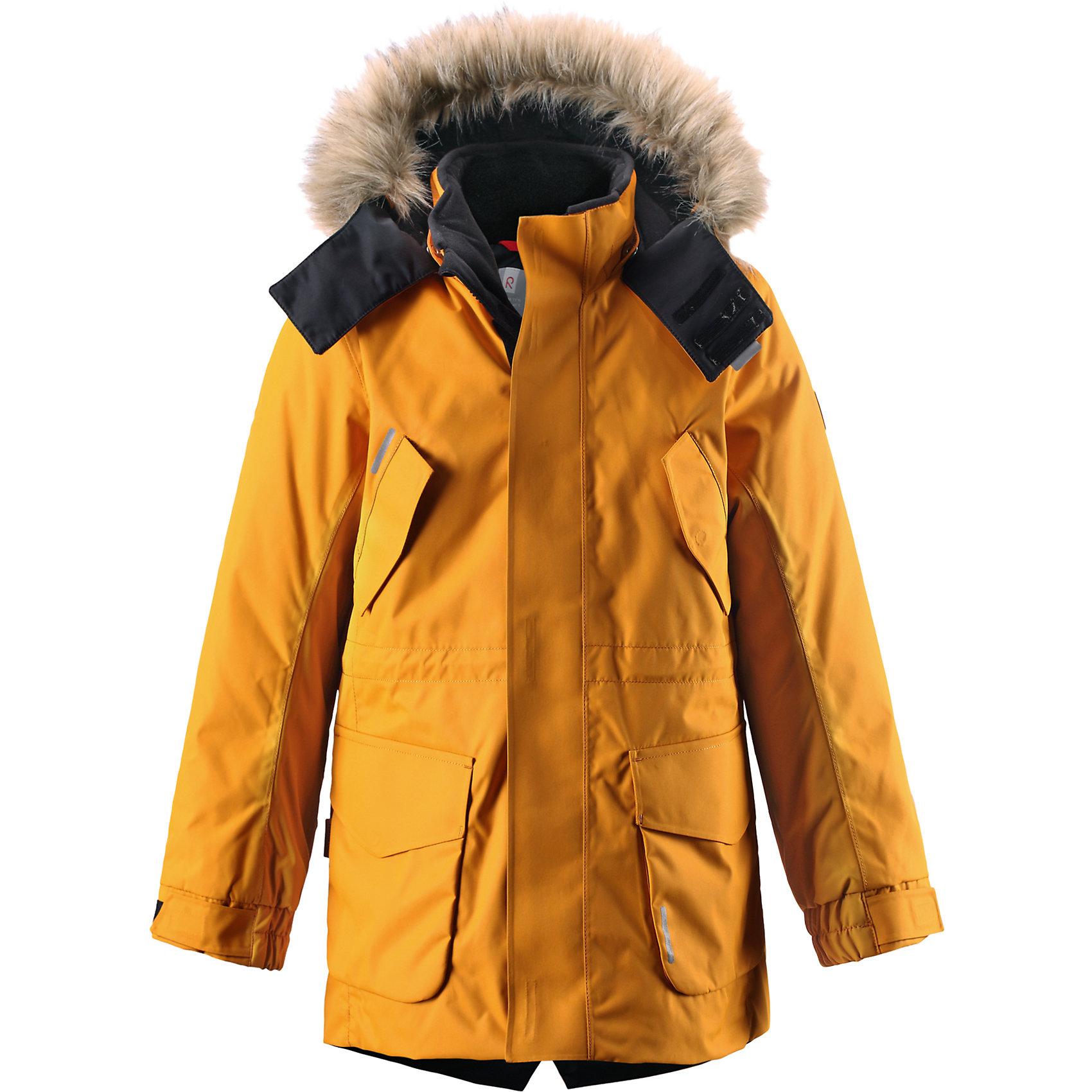 Куртка Naapuri для мальчика Reimatec® ReimaКуртка для мальчика Reimatec® Reima<br>Зимняя куртка для подростков. Все швы проклеены и водонепроницаемы. Водо- и ветронепроницаемый, «дышащий» и грязеотталкивающий материал. Гладкая подкладка из полиэстра. Безопасный отстегивающийся и регулируемый капюшон с отсоединяемой меховой каймой из искусственного меха. Регулируемый манжет на липучке. Внутренняя регулировка обхвата талии. Два кармана с клапанами. Два прорезных кармана. Безопасные светоотражающие детали. Петля для дополнительных светоотража.ющих деталей.<br>Утеплитель: Reima® Comfort+ insulation,140 g<br>Уход:<br>Стирать по отдельности, вывернув наизнанку. Перед стиркой отстегните искусственный мех. Застегнуть молнии и липучки. Стирать моющим средством, не содержащим отбеливающие вещества. Полоскать без специального средства. Во избежание изменения цвета изделие необходимо вынуть из стиральной машинки незамедлительно после окончания программы стирки. Можно сушить в сушильном шкафу или центрифуге (макс. 40° C).<br>Состав:<br>100% Полиамид, полиуретановое покрытие<br><br>Ширина мм: 356<br>Глубина мм: 10<br>Высота мм: 245<br>Вес г: 519<br>Цвет: желтый<br>Возраст от месяцев: 72<br>Возраст до месяцев: 84<br>Пол: Мужской<br>Возраст: Детский<br>Размер: 164,128,104,134,158,152,146,110,140,122,116<br>SKU: 4778387