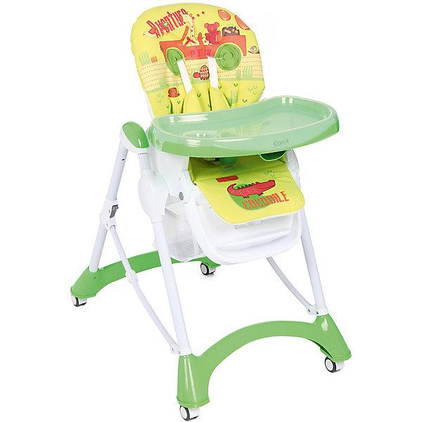 Стульчик для кормления, Corol, зеленый/желтый САФАРИСтульчики для кормления<br>Прочный и удобный стульчик для кормления позволит посадить ребенка, не беспокоясь при этом о его безопасности. Яркий цвет изделия привлечет внимание малыша. Эта модель очень удобна: угол наклона спинки регулируется, высота - тоже, предусмотрены два угла наклона подножки. <br>Двойной поднос может крепиться на задних ножках. Для удобства перемещения есть колесики с фиксаторами. Сиденье и спинка -  мягкие, конструкция  - очень устойчивая. Изделие произведено из качественных и безопасных для малышей материалов, оно соответствуют всем современным требованиям безопасности.<br> <br>Дополнительная информация:<br><br>цвет: зеленый, желтый;<br>принт;<br>материал: металл;<br>столик съемный, двойной;<br>вес: 9 кг;<br>регулировка по высоте: 7 положений;<br>количество положений спинки: 3;<br>пятиточечные ремни безопасности;<br>колеса;<br>возраст: от 6 до 36 месяцев;<br>размеры стола: 630х1090х900 мм.<br><br>Стульчик для кормления, зеленый/желтый САФАРИ от компании Corol можно купить в нашем магазине.<br><br>Ширина мм: 1090<br>Глубина мм: 630<br>Высота мм: 435<br>Вес г: 8450<br>Возраст от месяцев: 6<br>Возраст до месяцев: 36<br>Пол: Унисекс<br>Возраст: Детский<br>SKU: 4778477