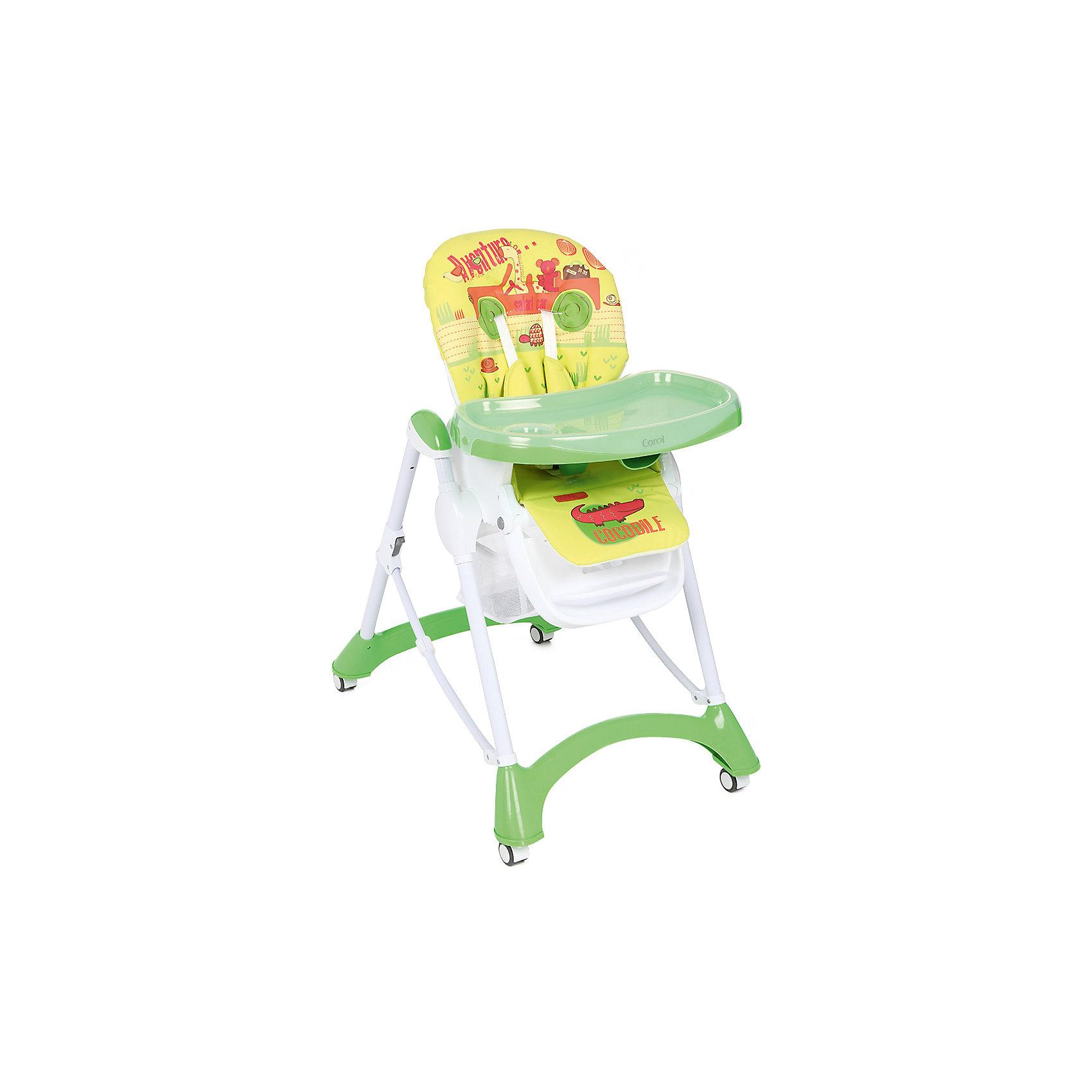 Стульчик для кормления, Corol, зеленый/желтый САФАРИот +6 месяцев<br>Прочный и удобный стульчик для кормления позволит посадить ребенка, не беспокоясь при этом о его безопасности. Яркий цвет изделия привлечет внимание малыша. Эта модель очень удобна: угол наклона спинки регулируется, высота - тоже, предусмотрены два угла наклона подножки. <br>Двойной поднос может крепиться на задних ножках. Для удобства перемещения есть колесики с фиксаторами. Сиденье и спинка -  мягкие, конструкция  - очень устойчивая. Изделие произведено из качественных и безопасных для малышей материалов, оно соответствуют всем современным требованиям безопасности.<br> <br>Дополнительная информация:<br><br>цвет: зеленый, желтый;<br>принт;<br>материал: металл;<br>столик съемный, двойной;<br>вес: 9 кг;<br>регулировка по высоте: 7 положений;<br>количество положений спинки: 3;<br>пятиточечные ремни безопасности;<br>колеса;<br>возраст: от 6 до 36 месяцев;<br>размеры стола: 630х1090х900 мм.<br><br>Стульчик для кормления, зеленый/желтый САФАРИ от компании Corol можно купить в нашем магазине.<br><br>Ширина мм: 1090<br>Глубина мм: 630<br>Высота мм: 435<br>Вес г: 8450<br>Возраст от месяцев: 6<br>Возраст до месяцев: 36<br>Пол: Унисекс<br>Возраст: Детский<br>SKU: 4778477