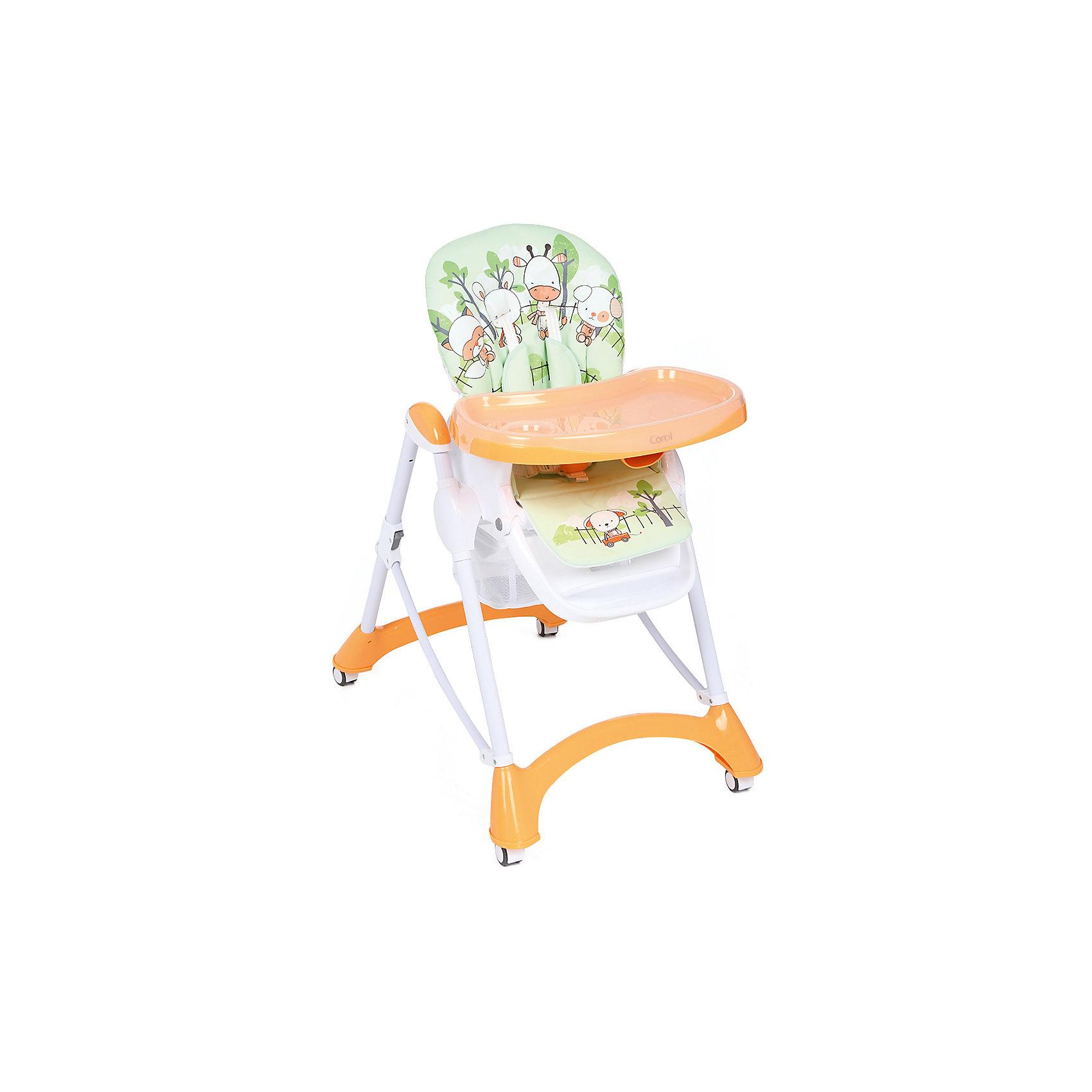 Стульчик для кормления, Corol, оранжевый/салатовый ЗВЕРЯТАот +6 месяцев<br>Прочный и удобный стульчик для кормления позволит посадить ребенка, не беспокоясь при этом о его безопасности. Яркий цвет изделия привлечет внимание малыша. Эта модель очень удобна: угол наклона спинки регулируется, высота - тоже, предусмотрены два угла наклона подножки. <br>Двойной поднос может крепиться на задних ножках. Для удобства перемещения есть колесики с фиксаторами. Сиденье и спинка -  мягкие, конструкция  - очень устойчивая. Изделие произведено из качественных и безопасных для малышей материалов, оно соответствуют всем современным требованиям безопасности.<br> <br>Дополнительная информация:<br><br>цвет: оранжевый, салатовый;<br>принт с овечками;<br>материал: металл;<br>столик съемный, двойной;<br>вес: 9 кг;<br>регулировка по высоте: 7 положений;<br>количество положений спинки: 3;<br>пятиточечные ремни безопасности;<br>колеса;<br>возраст: от 6 до 36 месяцев;<br>размеры стола: 630х1090х900 мм.<br><br>Стульчик для кормления, оранжевый/салатовый ЗВЕРЯТА от компании Corol можно купить в нашем магазине.<br><br>Ширина мм: 1090<br>Глубина мм: 490<br>Высота мм: 550<br>Вес г: 8450<br>Возраст от месяцев: 6<br>Возраст до месяцев: 36<br>Пол: Унисекс<br>Возраст: Детский<br>SKU: 4778479