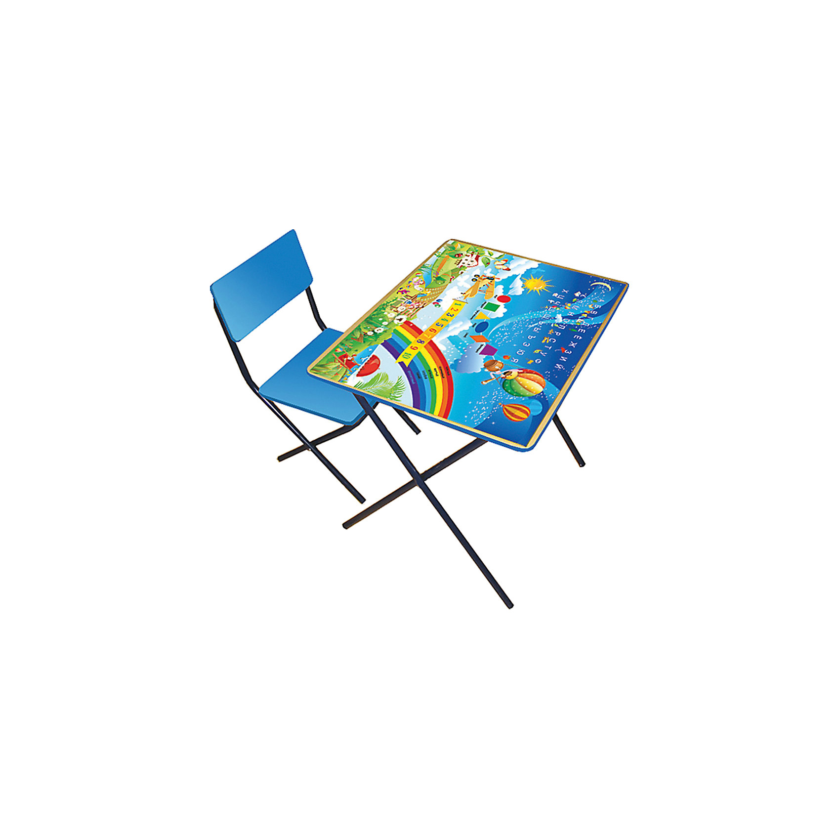 Комплект детской мебели Алфавит и цифры, ФеяКаждый ребенок нуждается в удобной, специальной мебели, чтобы его организм мог развиваться правильно. Такая мебель может быть еще и яркой, а также выполнять обучающую функцию.<br>Набор детской складной мебели Алфавит и цифры - это универсальный комплект необходимых предметов для малыша. Он состоит из стула и стола, выполненных в ярких цветах. Столешница позволяет разместить на ней все необходимые предметы: можно есть, играть или учиться! На ней расположены обучающие рисунки. Разработан набор в соответствии с рекомендациями врачей-ортопедов. Сделан из безопасных для ребенка материалов.<br><br>Дополнительная информация:<br><br>цвет: разноцветный;<br>материал: ЛДСП, металл, пластик;<br>просторная столешница;<br>оригинальный яркий дизайн;<br>обучающие изображения на столешнице;<br>легко моется;<br>соответствует рекомендациям ортопедов;<br>размер стола: 60 х 45 х 46 см;<br>размер стула: 35 х 27 х 49 см.<br><br>Комплект детской мебели Алфавит и цифры от компании Фея можно купить в нашем магазине.<br><br>Ширина мм: 560<br>Глубина мм: 650<br>Высота мм: 300<br>Вес г: 3000<br>Возраст от месяцев: 24<br>Возраст до месяцев: 60<br>Пол: Унисекс<br>Возраст: Детский<br>SKU: 4778486